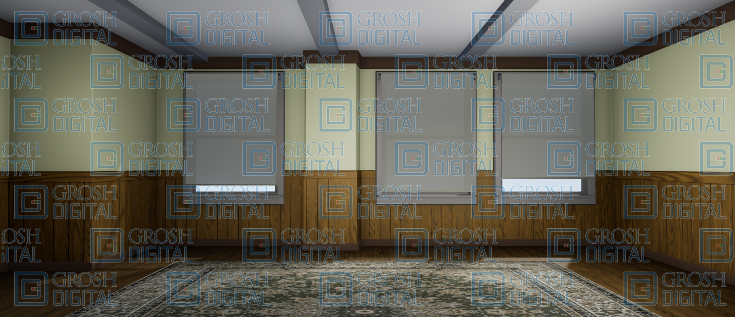 Office Interior Projected Backdrop for How to Succeed in Business, Pajama Game