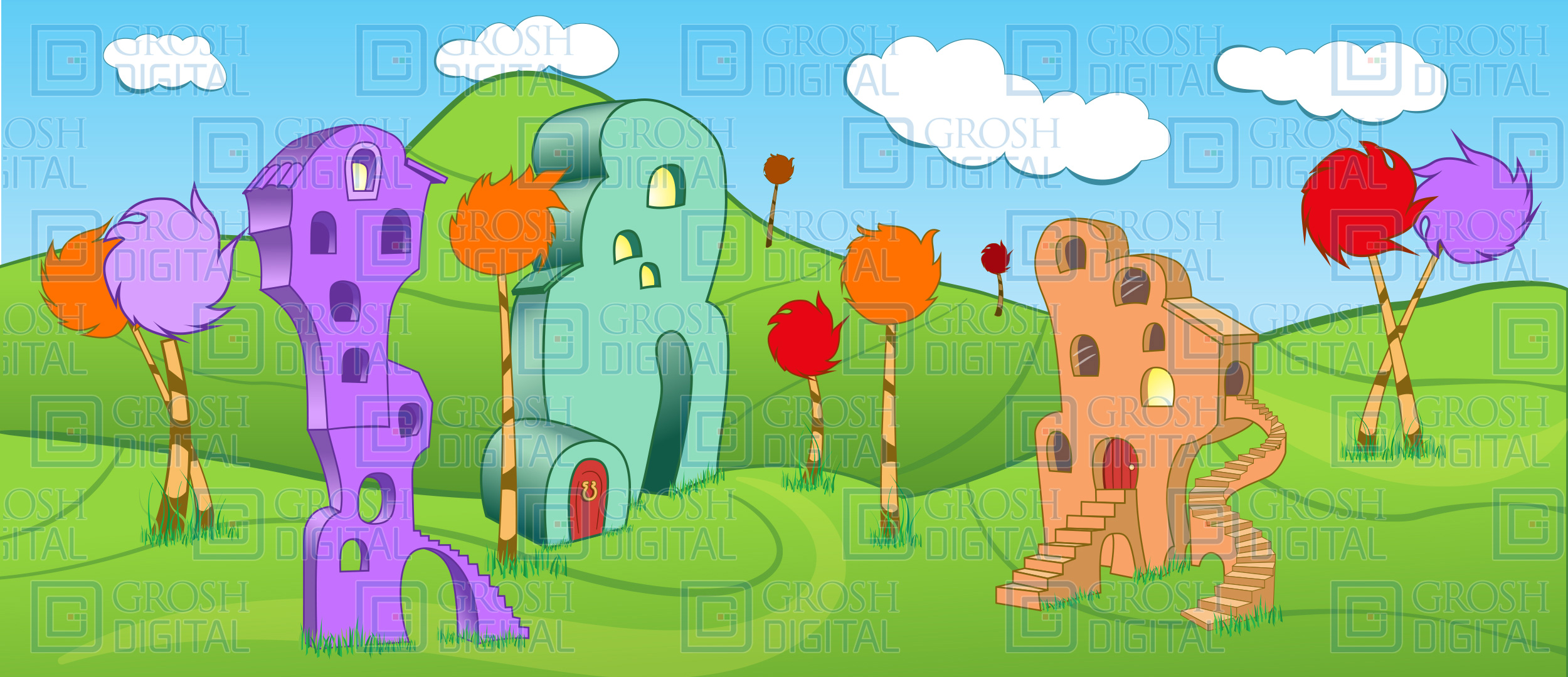 Whoville Projected Backdrop for Abstract, Exteriors, Seussical, Towns