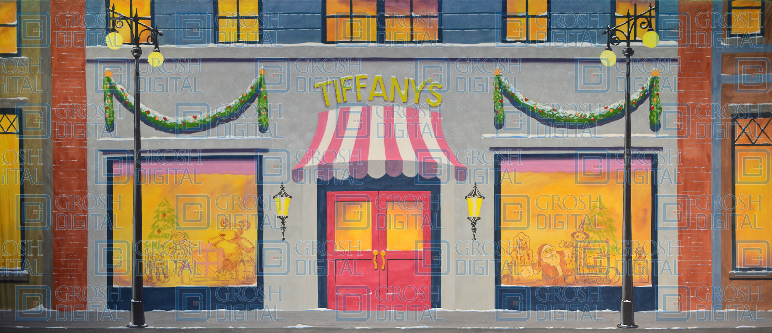 Christmas Storefront Projected Backdrop for A Christmas Carol, Annie, Elf the Musical, Exteriors, Holiday, Streets