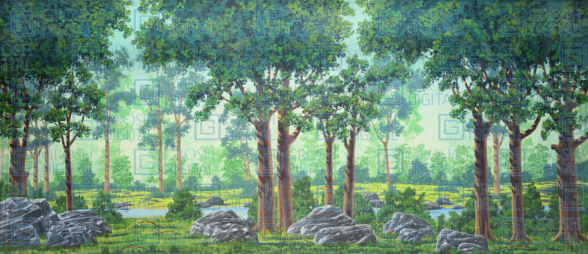 Forest Projected Backdrop for Addams Family, Alice in Wonderland, Beauty and the Beast, Cinderella, Forest, Into the Woods, Lion King, Madagascar, Peter Pan, Seven Brides for Seven Brothers, Shrek, Sleeping Beauty, Wizard of Oz
