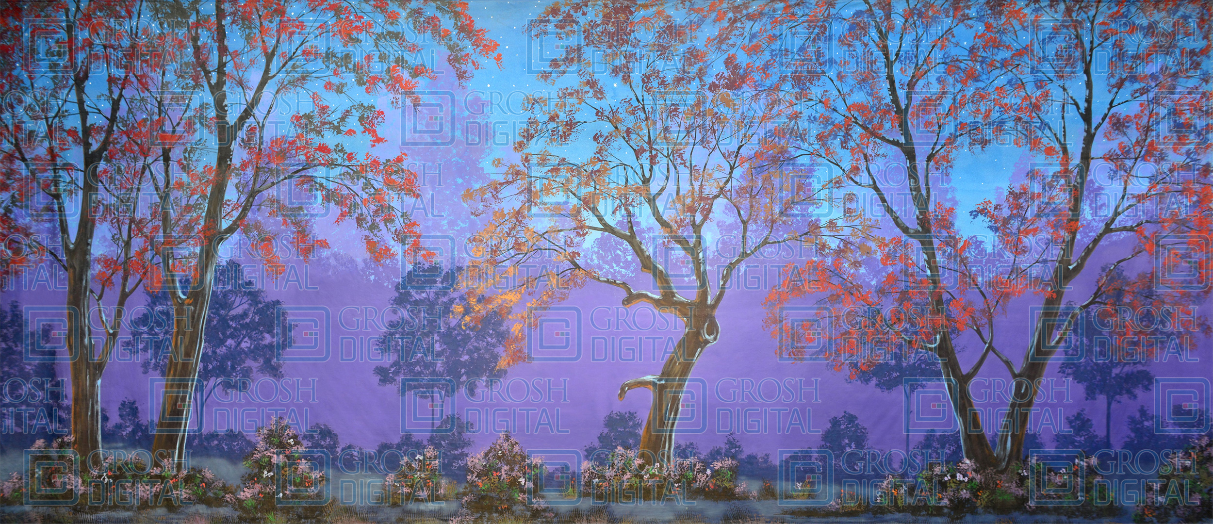 Night Forest Projected Backdrop for Addams Family, Alice in Wonderland, Beauty and the Beast, Cinderella, Forest, Into the Woods, Mary Poppins, Peter Pan, Sleeping Beauty