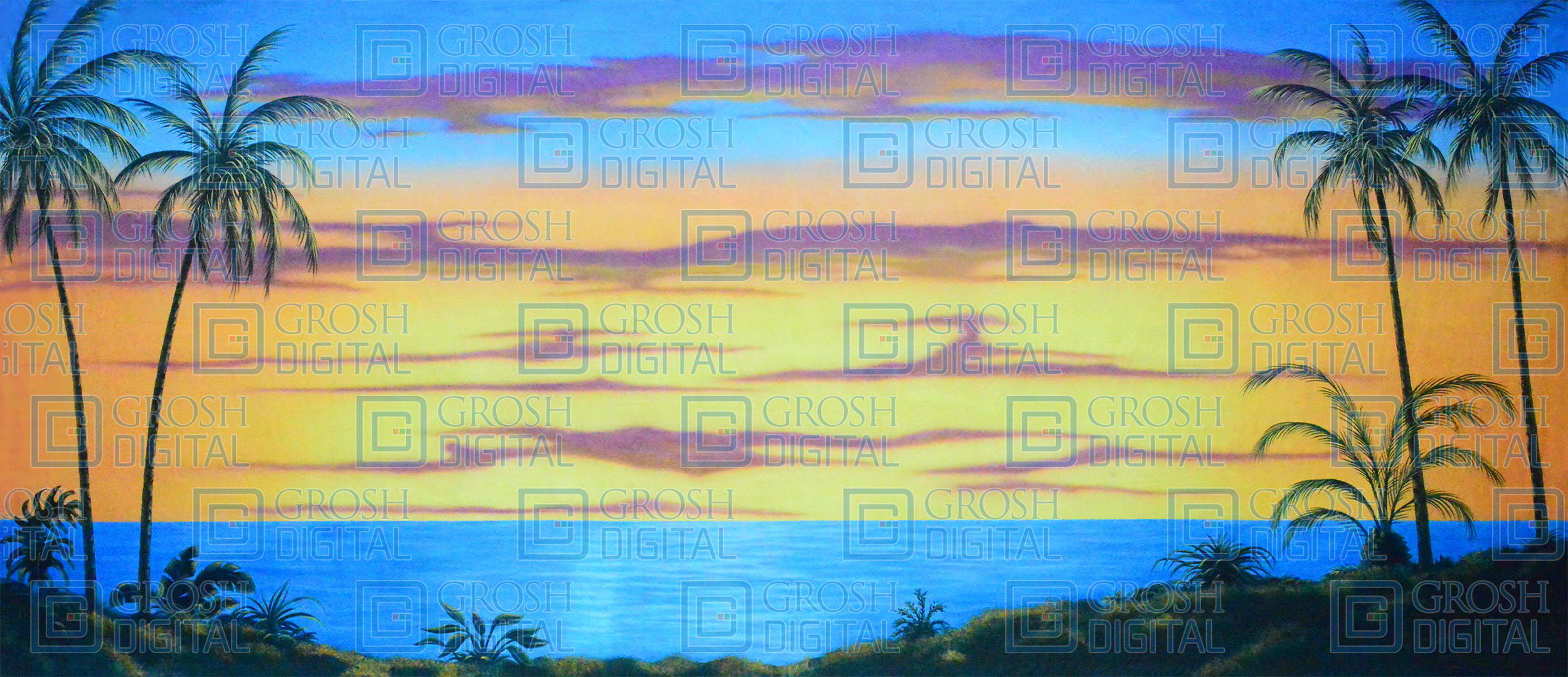 Tropical Beach at Sunset Projected Backdrop for Beach/Tropical, Guys and Dolls, Lion King, Madagascar, Mamma Mia, Moana