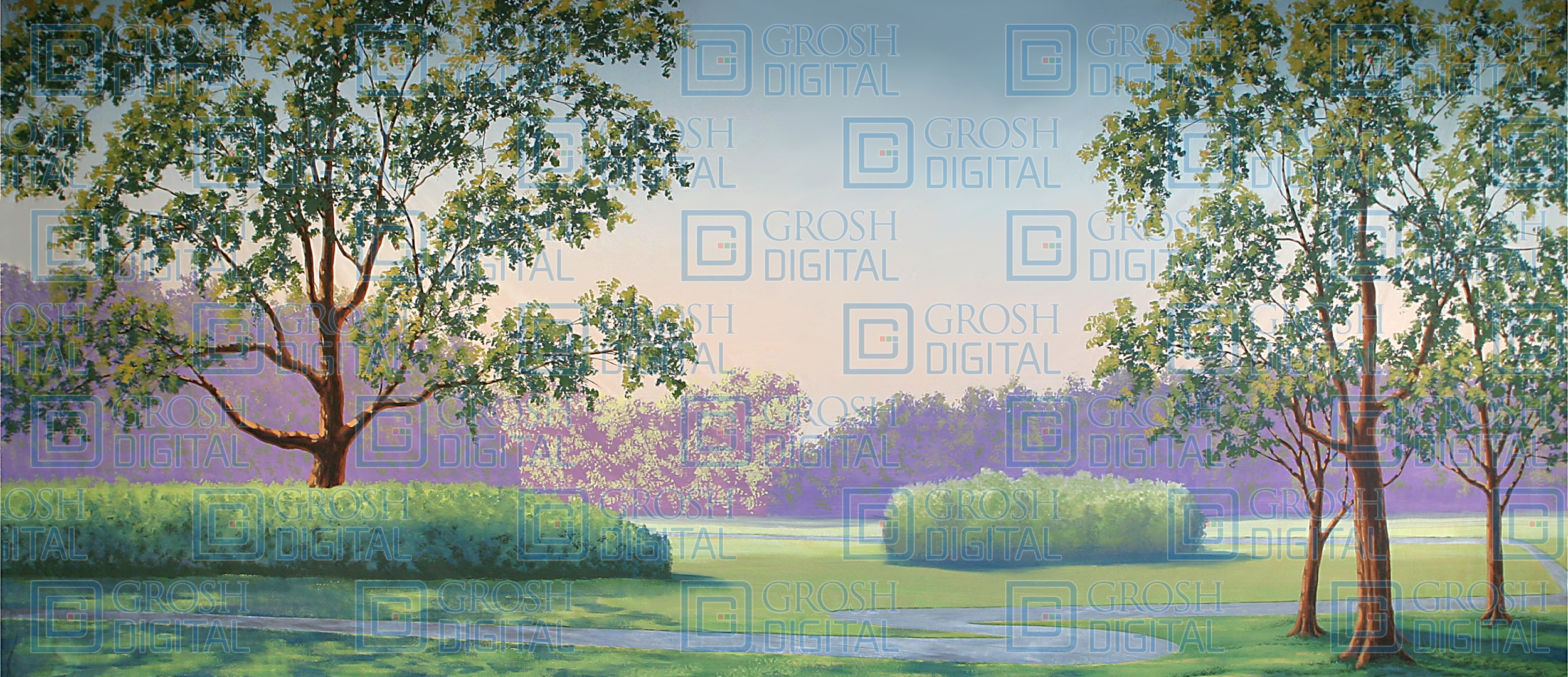 Park Landscape Projected Backdrop for Alice in Wonderland, Crazy for You, Damn Yankees, Forest, High School Musical, Landscapes, Legally Blonde, Music Man, Pajama Game, Shrek