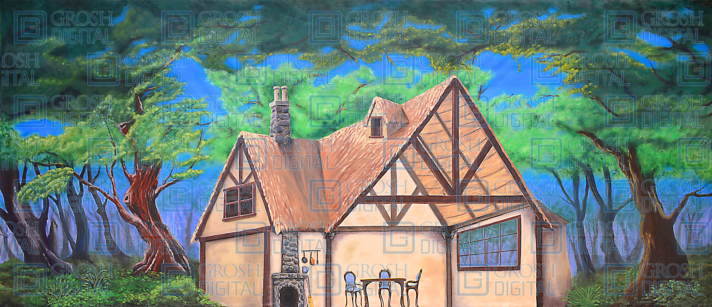 Cottage in the Woods Projected Backdrop for Alice in Wonderland, Exteriors, Forest, Interiors, Into the Woods