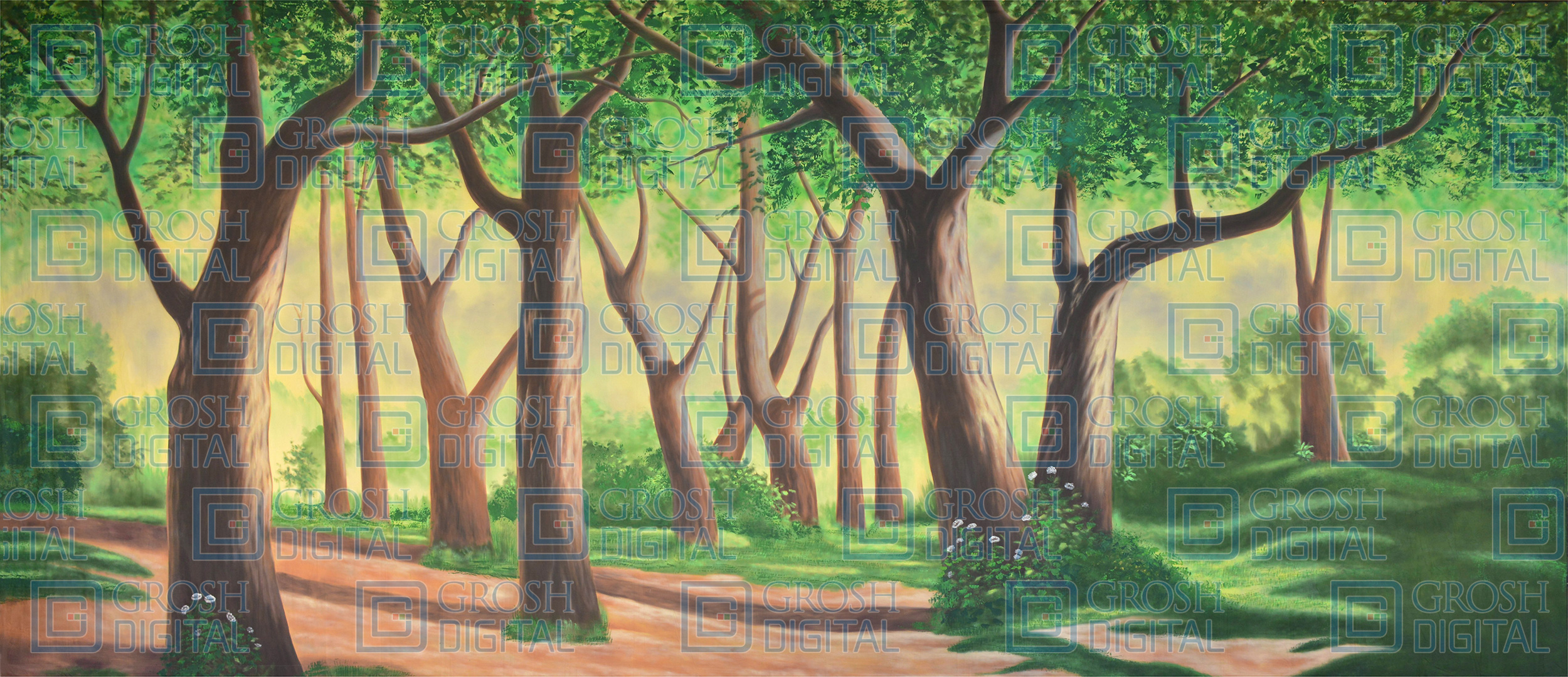 Forest 1 Projected Backdrop for Addams Family, Alice in Wonderland, Beauty and the Beast, Cinderella, Forest, Into the Woods, Lion King, Madagascar, Pajama Game, Peter Pan, Shrek, Sleeping Beauty, Wizard of Oz
