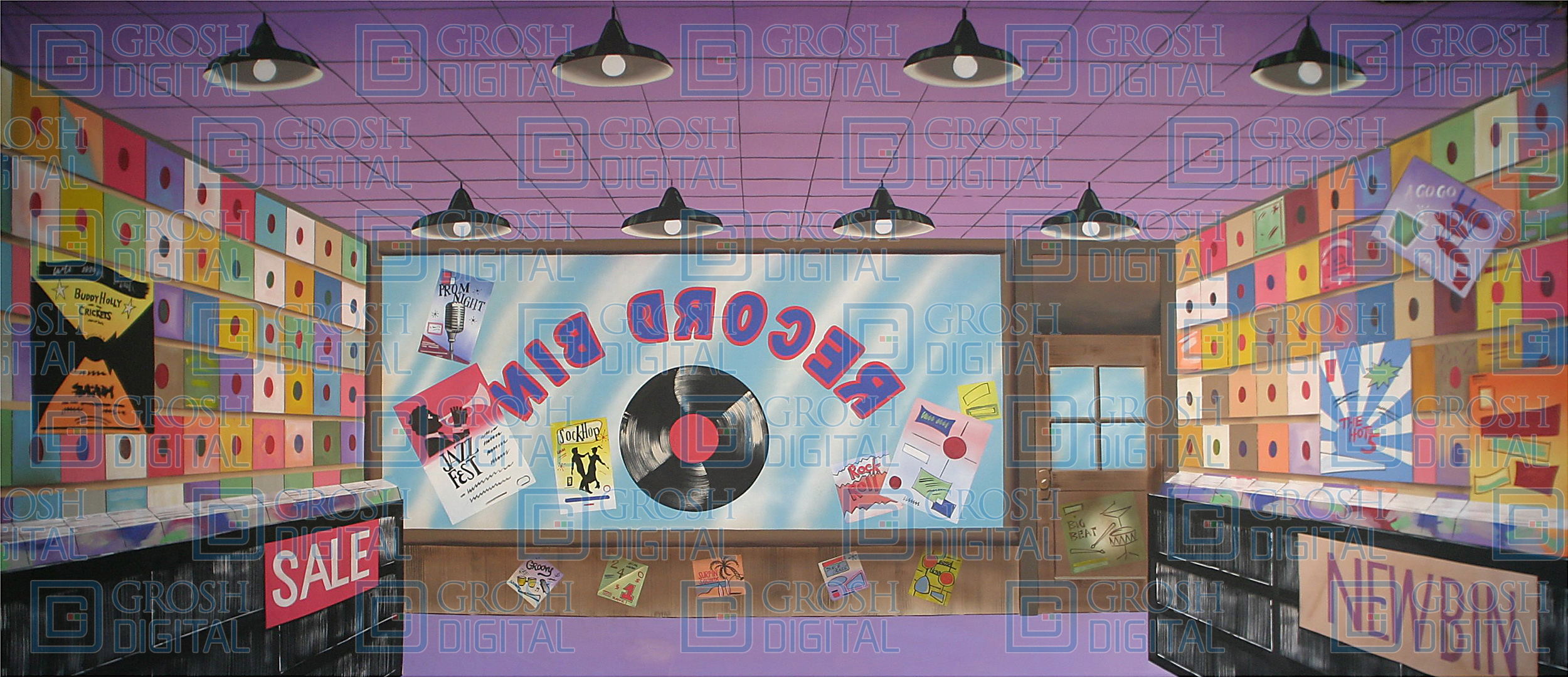 Record Store Projected Backdrop for Footloose, Grease, Hairspray, Interiors