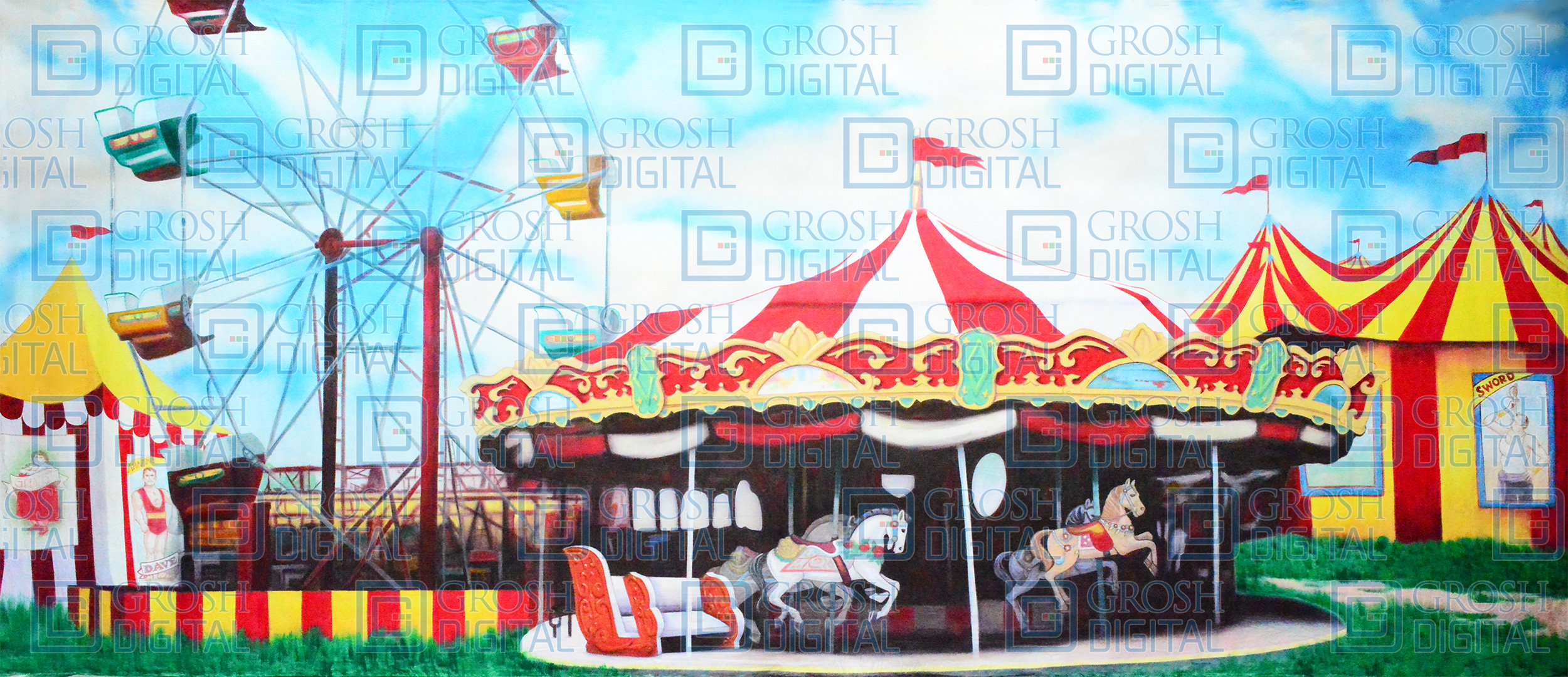Carnival 1 Projected Backdrop for Annie Get Your Gun, Exteriors, Grease