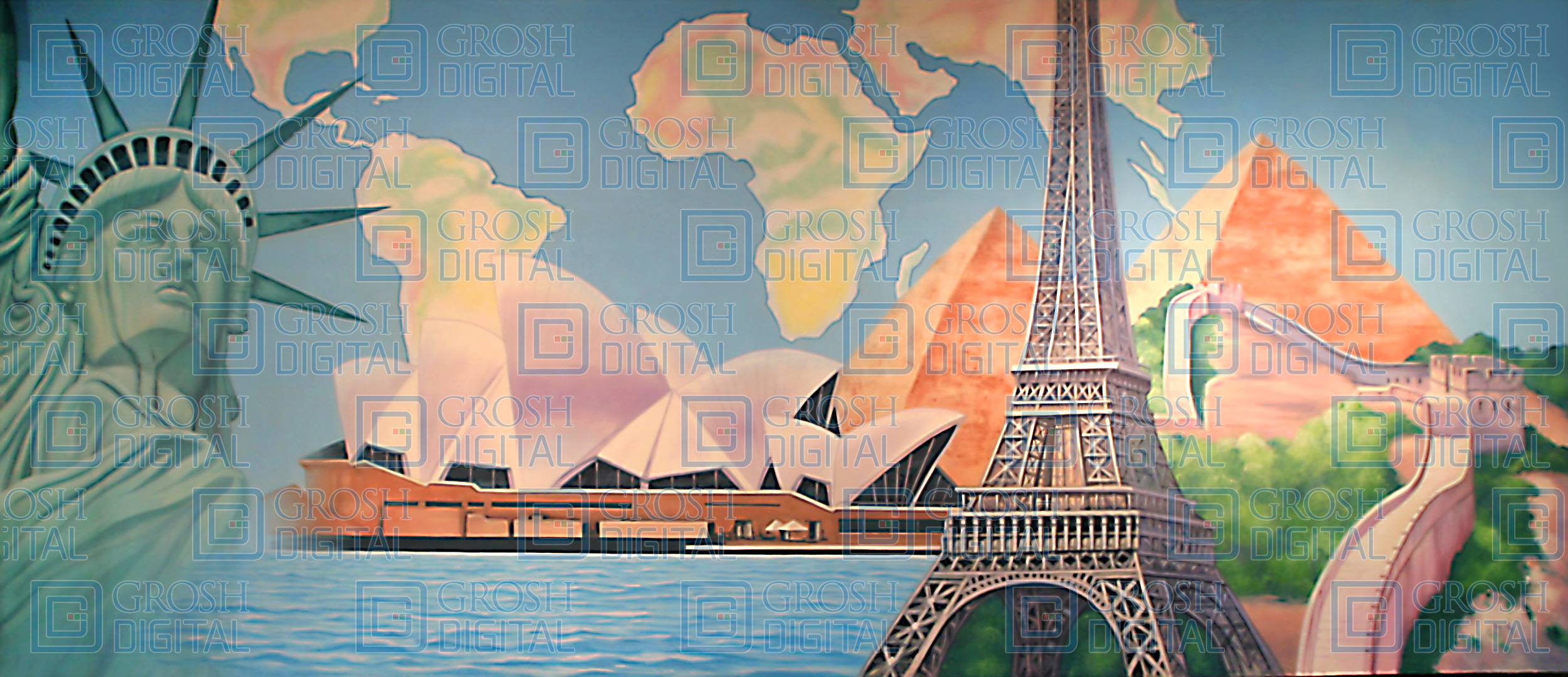 International Montage Projected Backdrop for Abstract, Dance, Travel