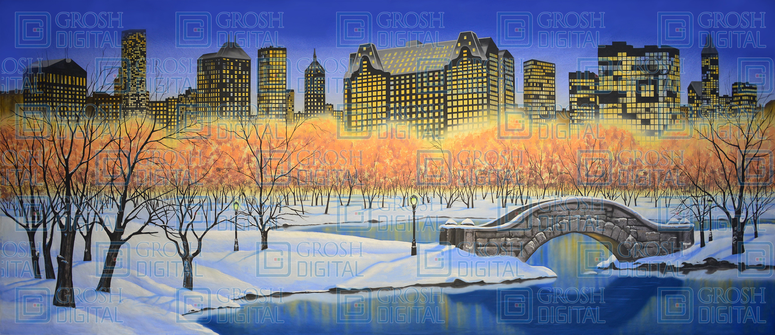 Central Park in Winter Projected Backdrop for Elf the Musical, Holiday, Skylines, Snows