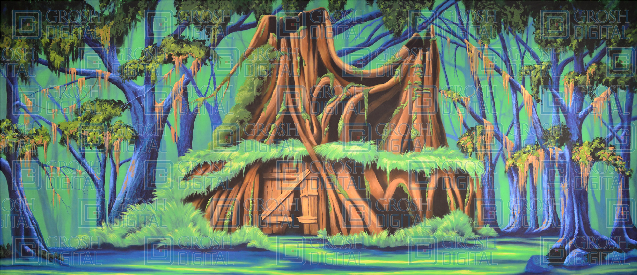 Shrek House Projected Backdrop for Big Fish, Exteriors, Forest, Shrek