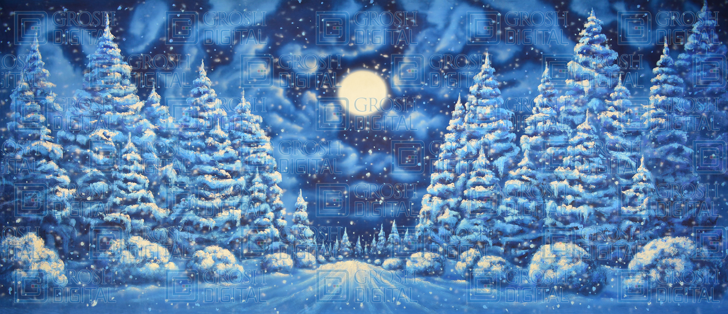 Night Snow Landscape Projected Backdrop for A Christmas Carol, Forest, Nutcracker, Snows