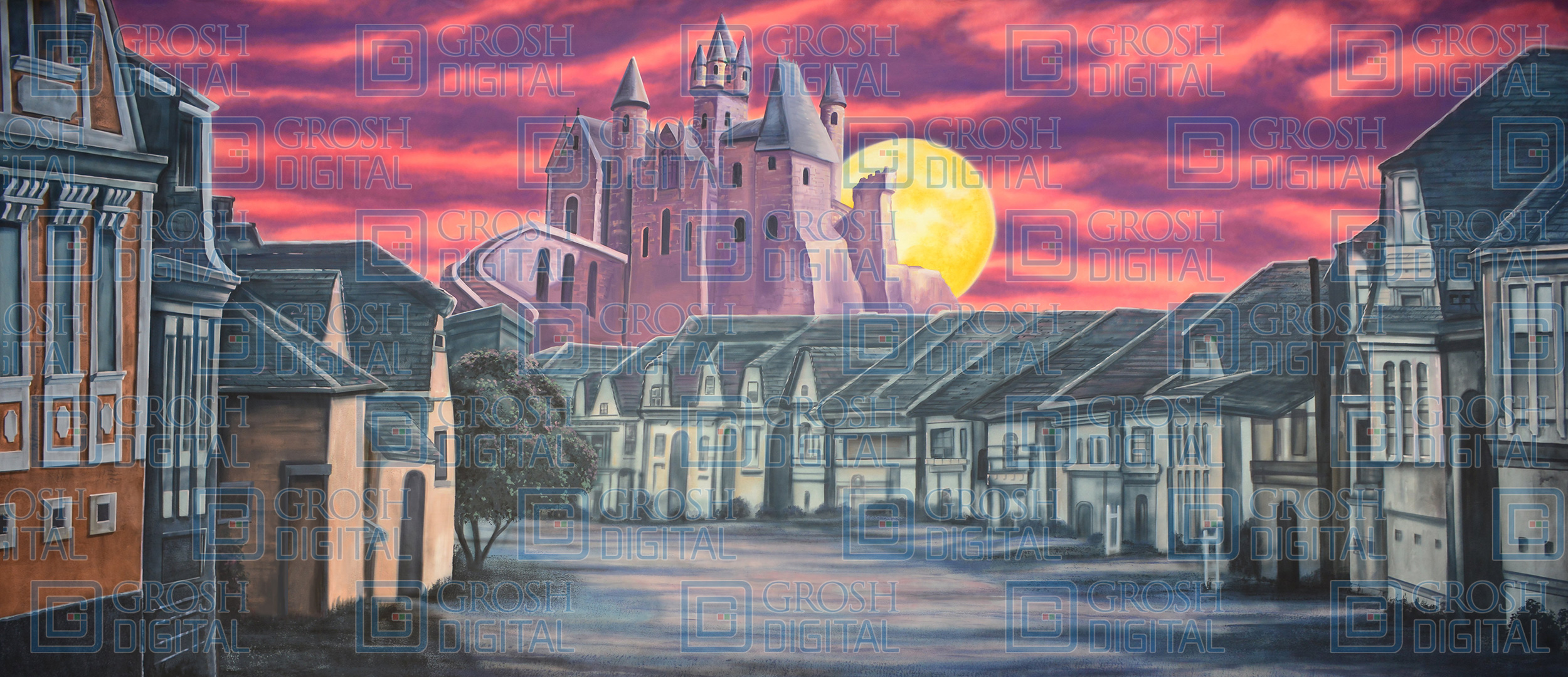 Village with Scary Castle Projected Backdrop for Addams Family, Coppelia, Villages