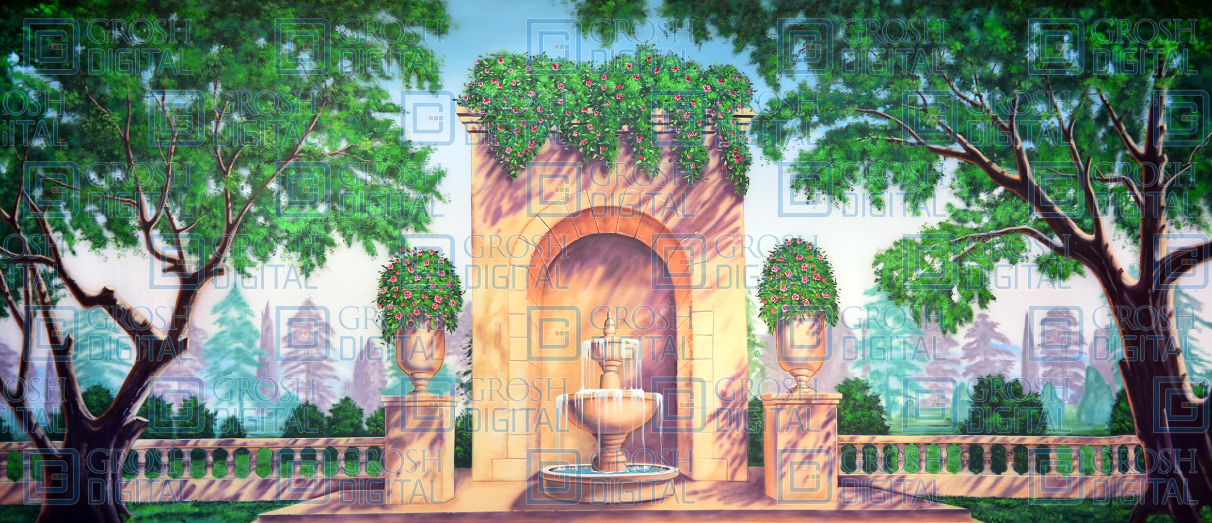 Garden With Fountain Projected Backdrop For Gardens Mary Poppins Sound Of Music