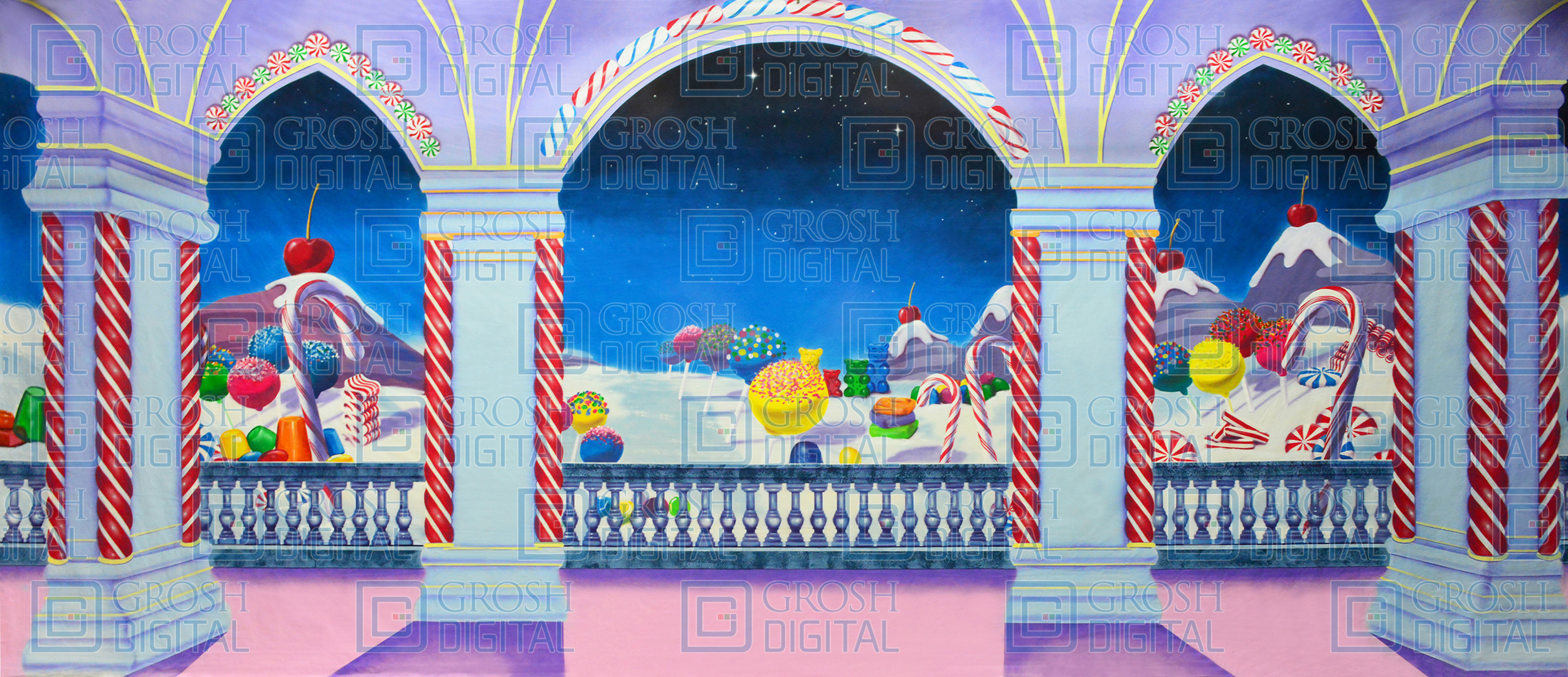 Fantasy Candyland Projected Backdrop for Dance, Land of the Sweets, Nutcracker
