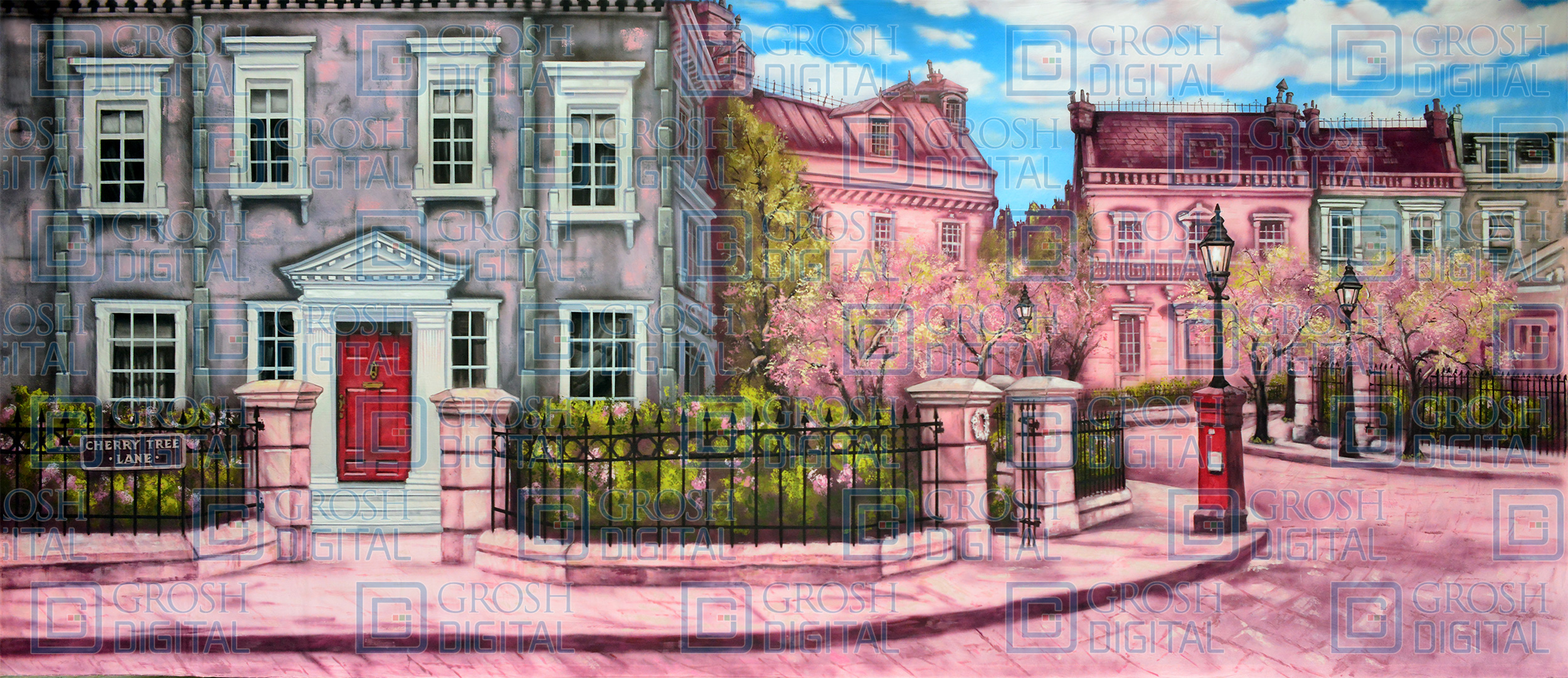 Cherry Tree Lane Projected Backdrop for Exteriors, Mary Poppins