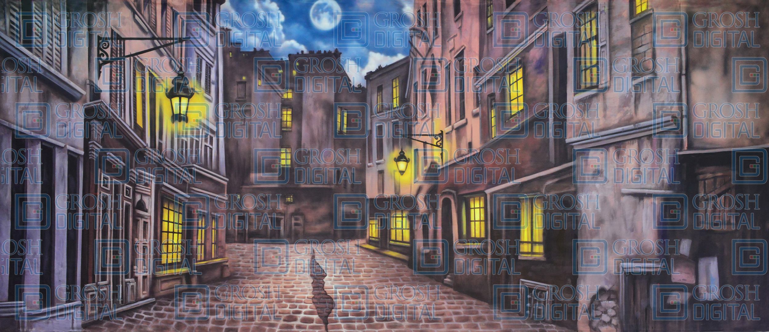 European Street Projected Backdrop for A Christmas Carol, Charlie and the Chocolate Factory, Mary Poppins, Streets