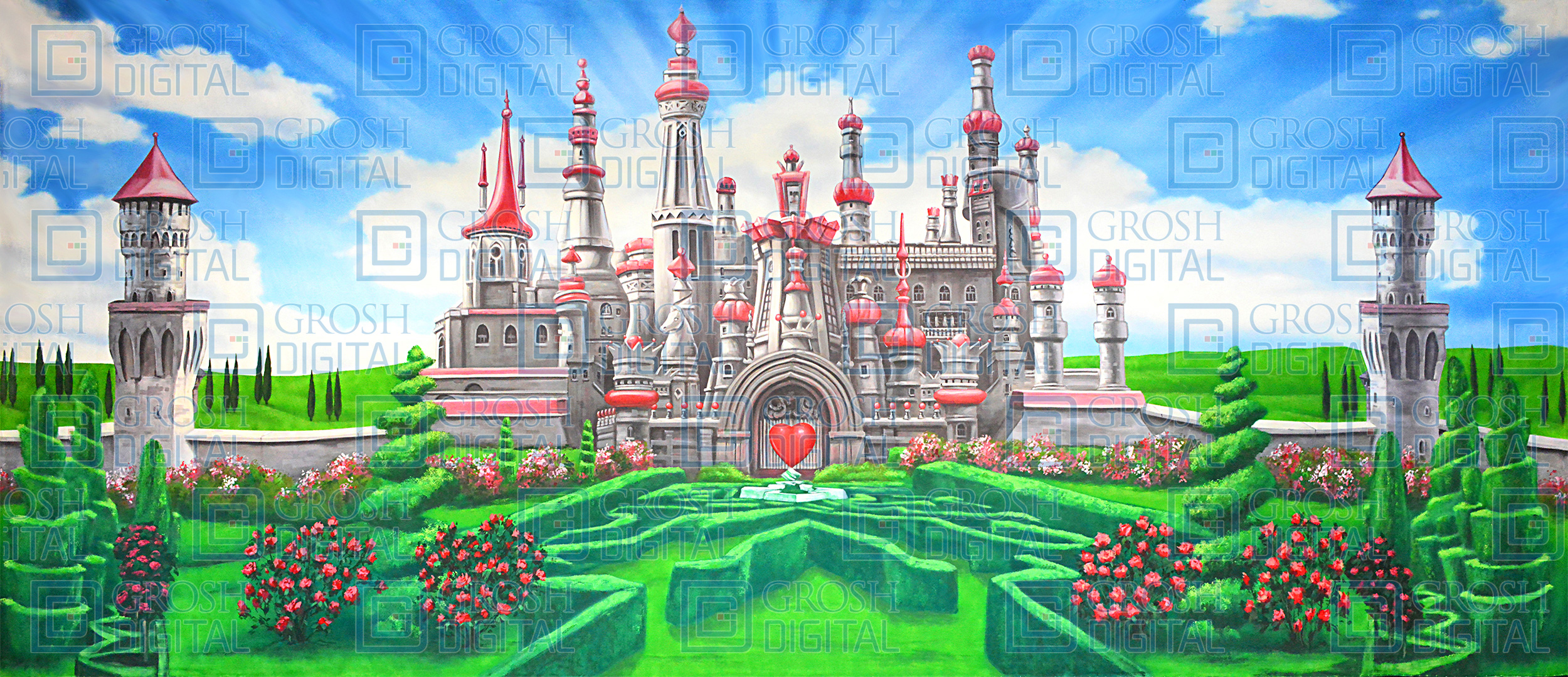 Queen of Hearts Projected Backdrop for Alice in Wonderland, Gardens