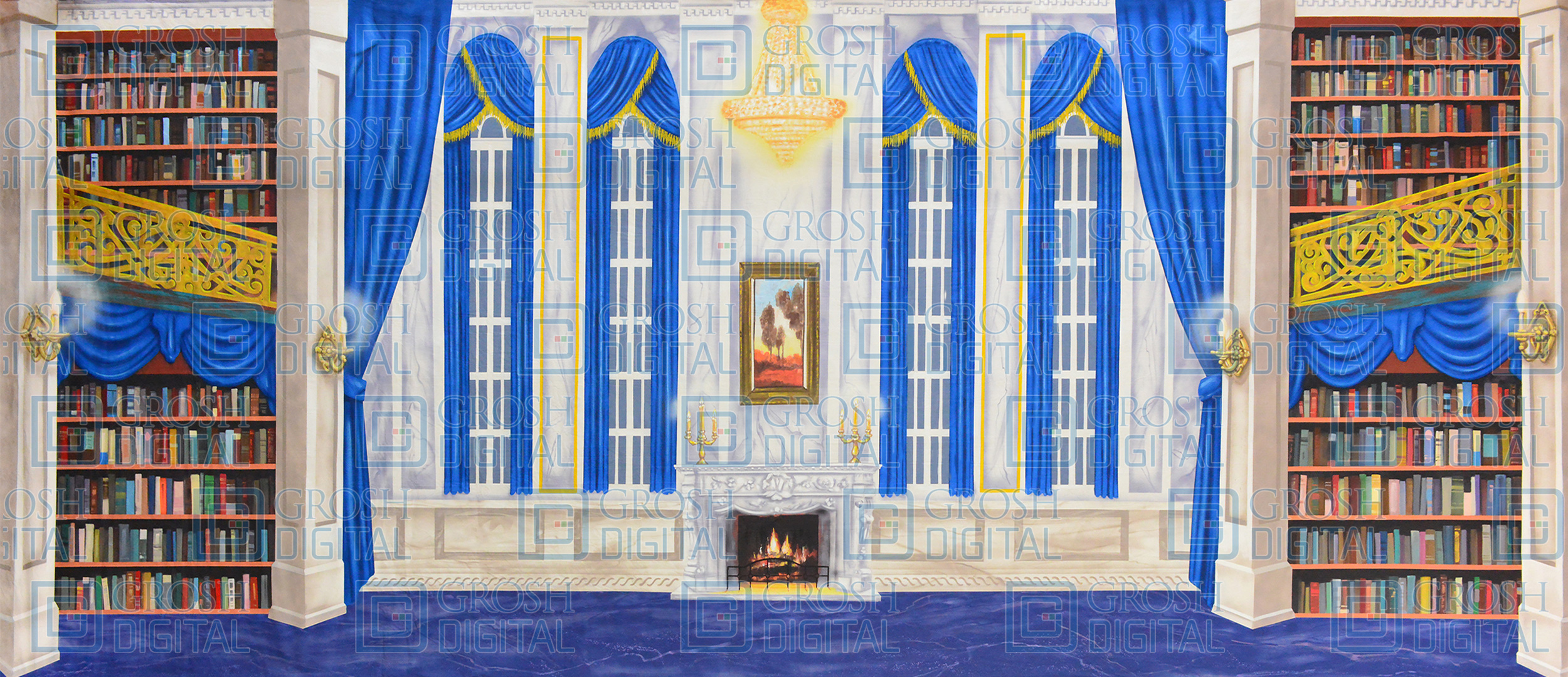 White Grand Study Projected Backdrop for Addams Family, Beauty and the Beast, Coppelia, Dance, Frozen, Interiors, Mamma Mia, Mary Poppins, My Fair Lady, Nutcracker, Palace/Parlors, Sleeping Beauty, Sound of Music