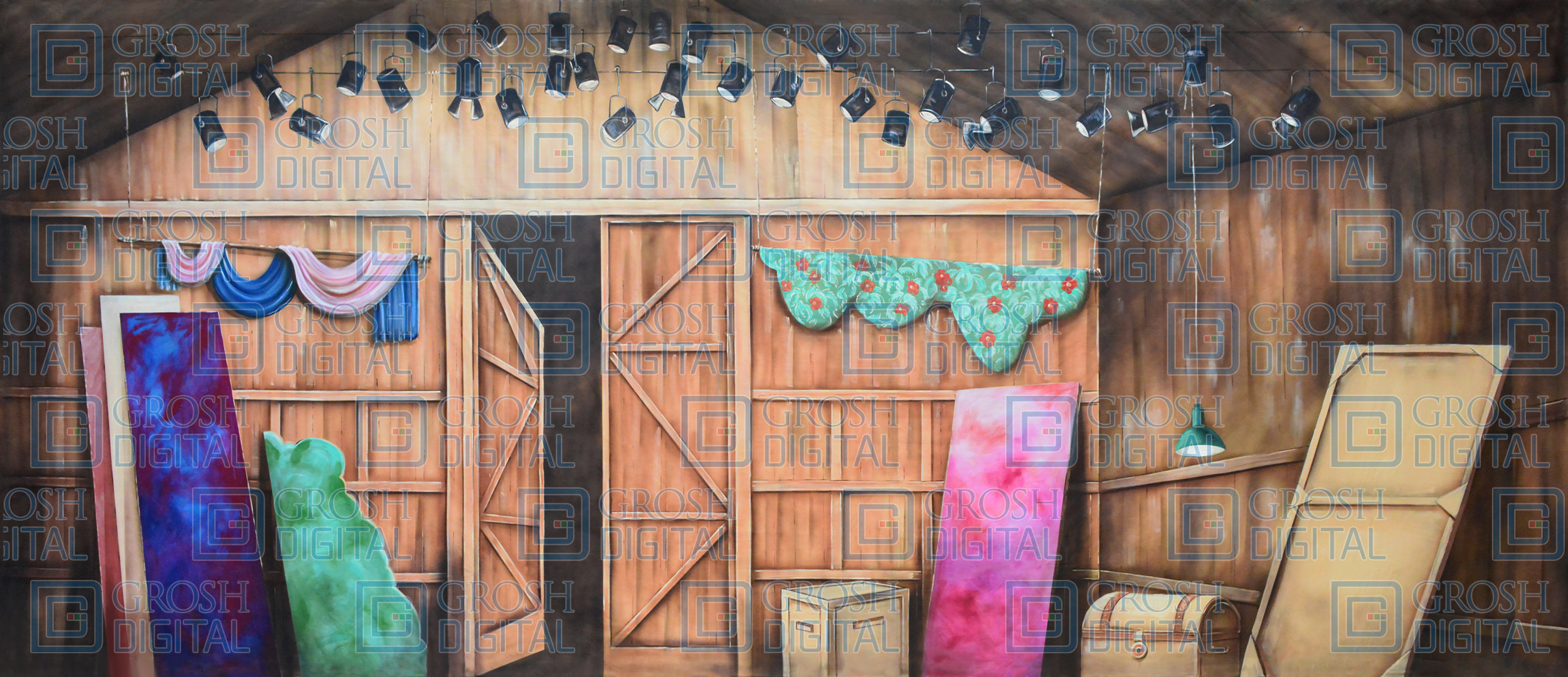 Barn Theater Interior Projected Backdrop for Crazy for You, Footloose, Interiors, My Fair Lady, Oklahoma