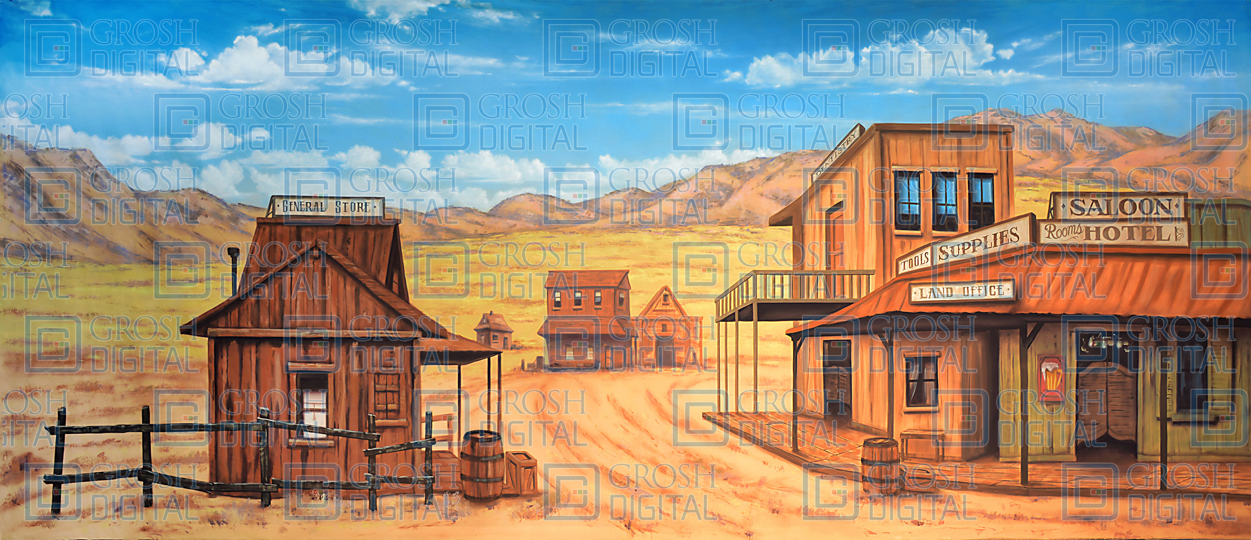 Western Street Projected Backdrop for Annie Get Your Gun, Crazy for You, Exteriors, Seven Brides for Seven Brothers, Towns