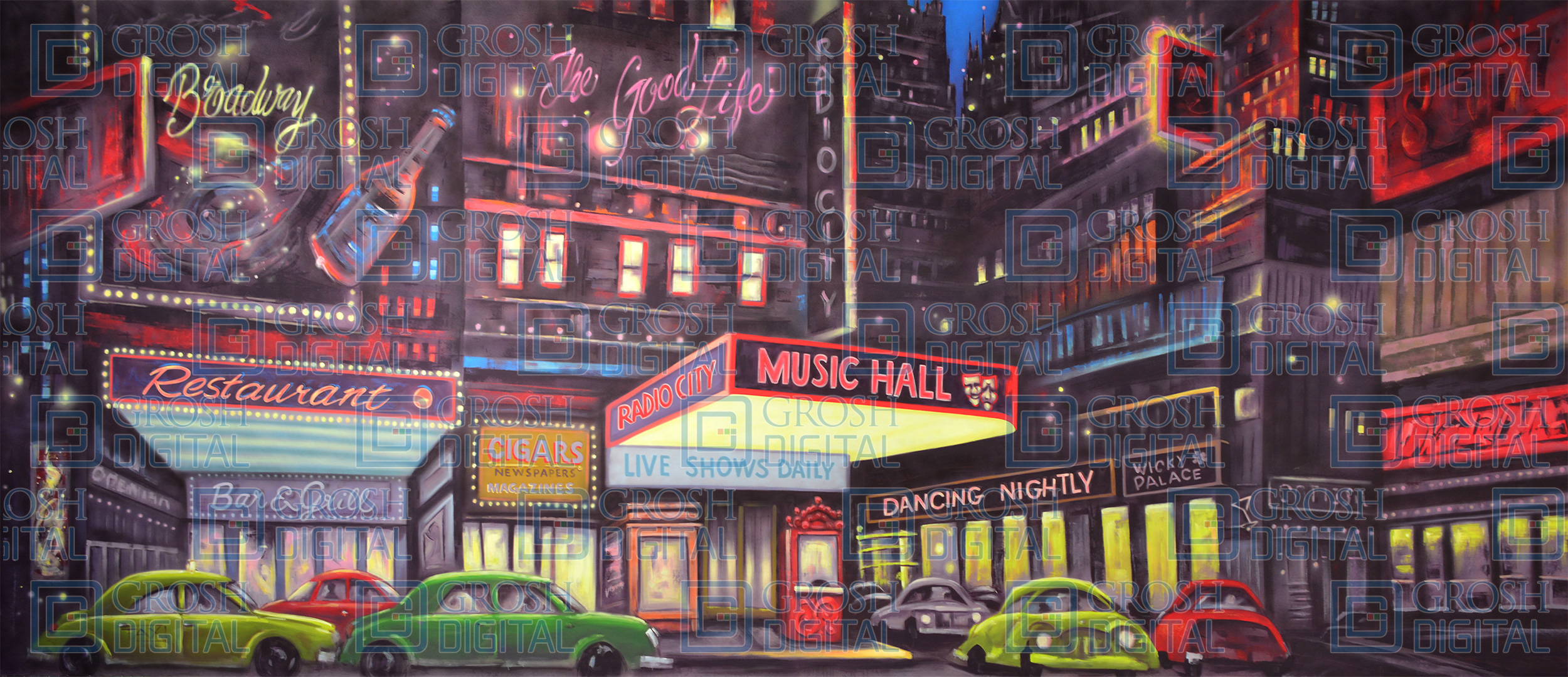 Broadway Projected Backdrop for 42nd Street, Annie, Big Fish, Broadway/New York, Crazy for You, Elf the Musical, Exteriors, Guys and Dolls, How to Succeed in Business, In the Heights, Newsies, Skylines, Streets, Thoroughly Modern Millie, West Side Story