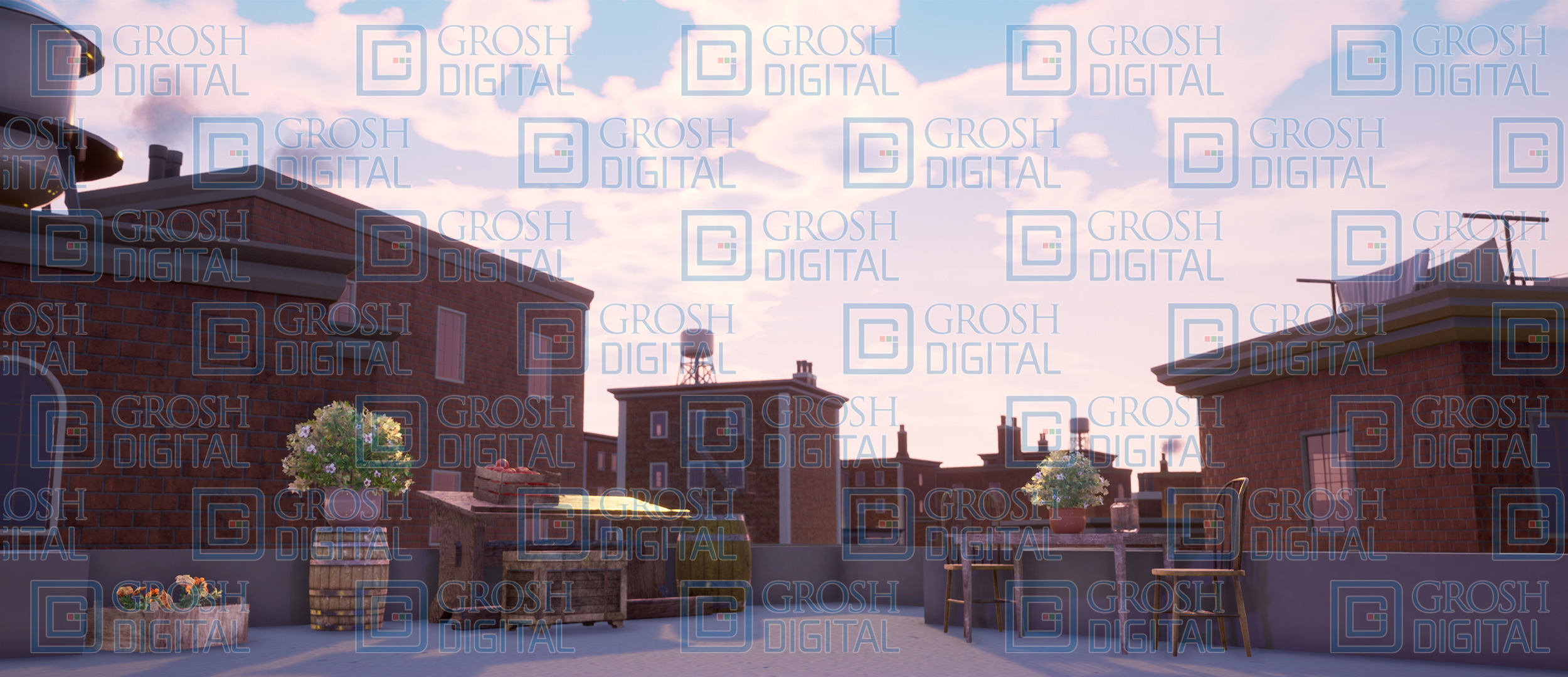 Daytime New York City Rooftops Projected Backdrop for Exteriors, Newsies, Skylines
