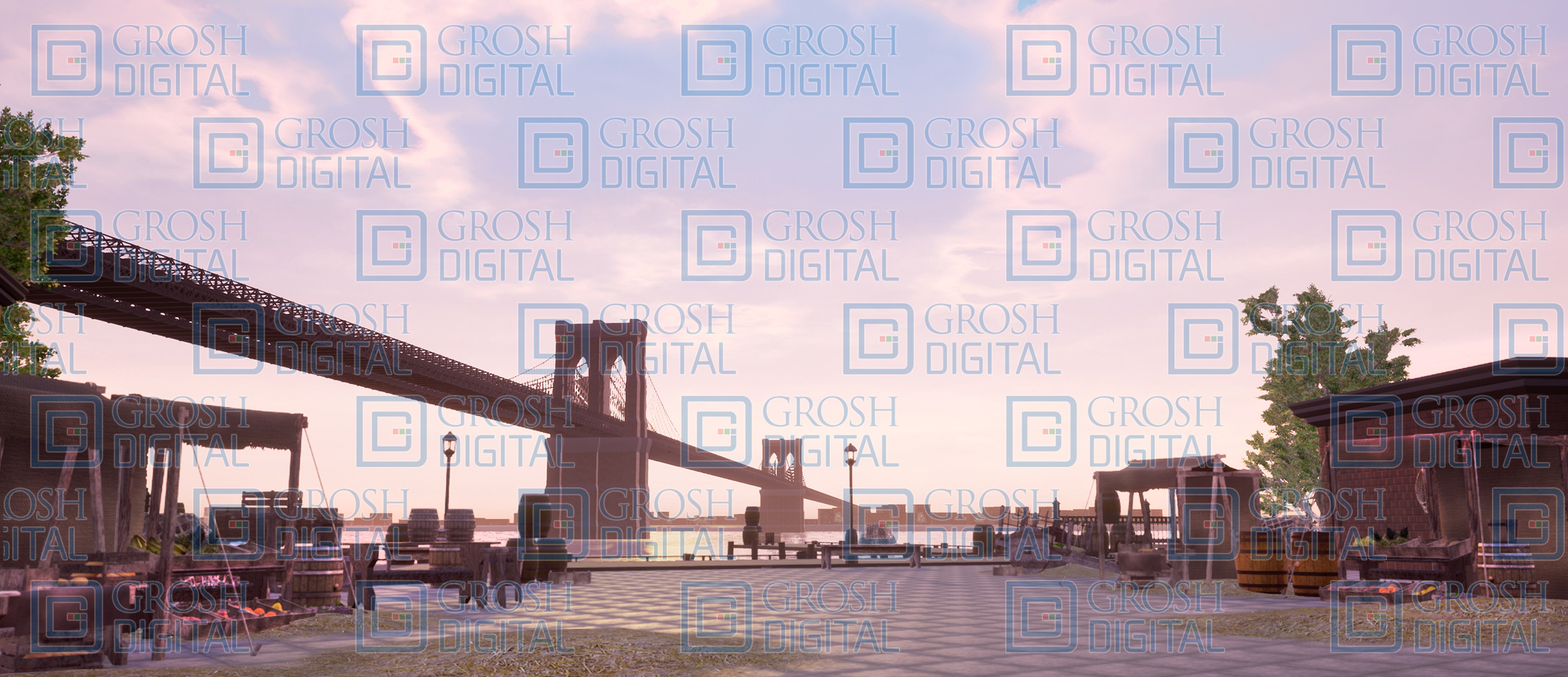 Brooklyn Bridge Projected Backdrop for Exteriors, In the Heights, Newsies, Streets, Towns, West Side Story