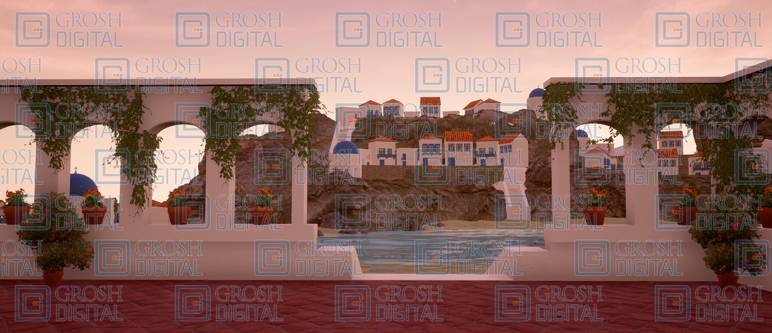 Seaside Cafe at Sunset Projected Backdrop for Beach/Tropical, Exteriors, Mamma Mia, Villages