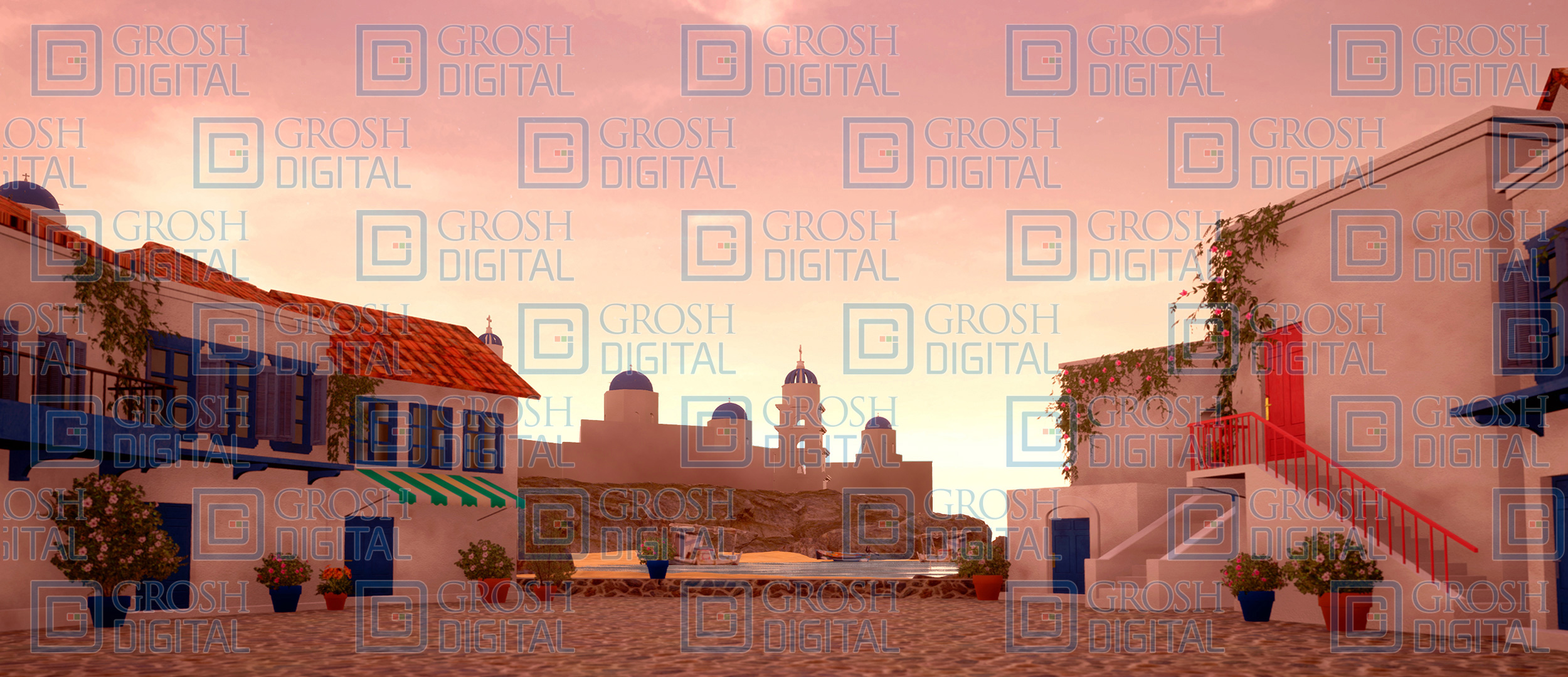 Seaside Village at Sunset Projected Backdrop for Beach/Tropical, Exteriors, Mamma Mia, Show, Villages