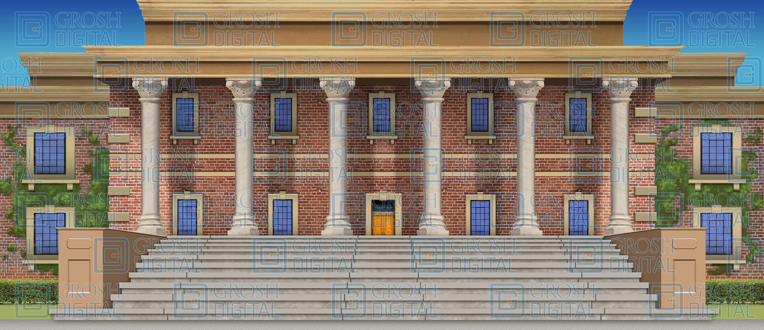 University Projected Backdrop for Bye Bye Birdie, Exteriors, Legally Blonde