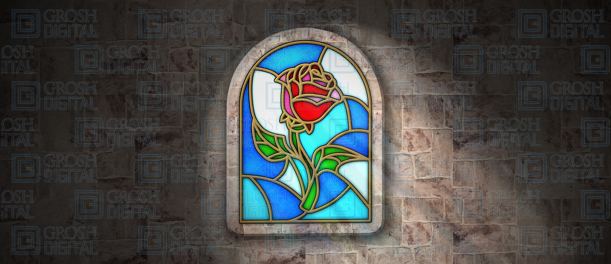Enchanted Rose Stained Glass Projected Backdrop for Abstract, Beauty and the Beast, Castles