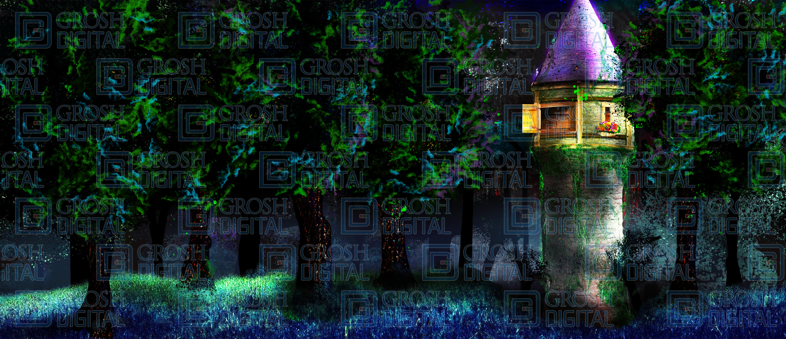 Rapunzel's Tower Exterior Projected Backdrop for Exteriors, Forest, Into the Woods