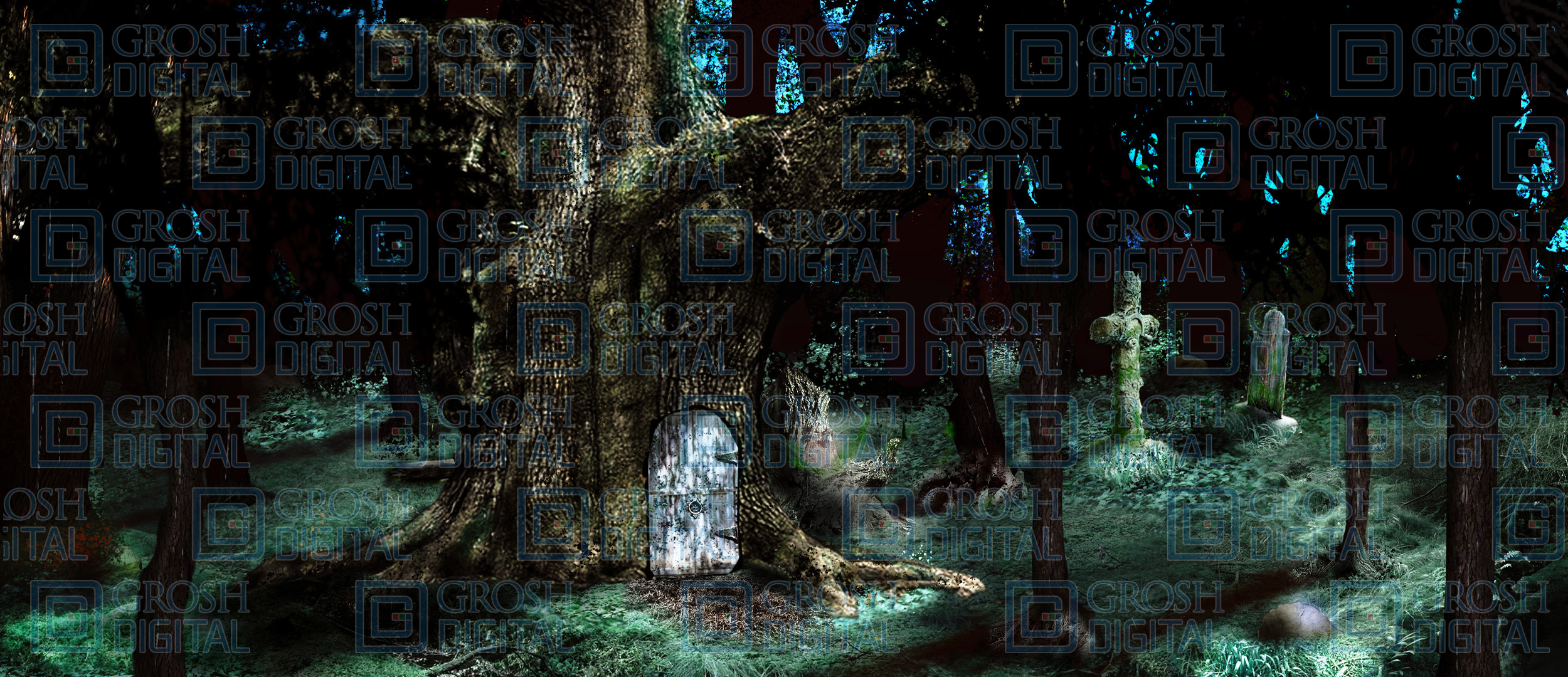 Witch House in the Woods Projected Backdrop for Forest, Into the Woods