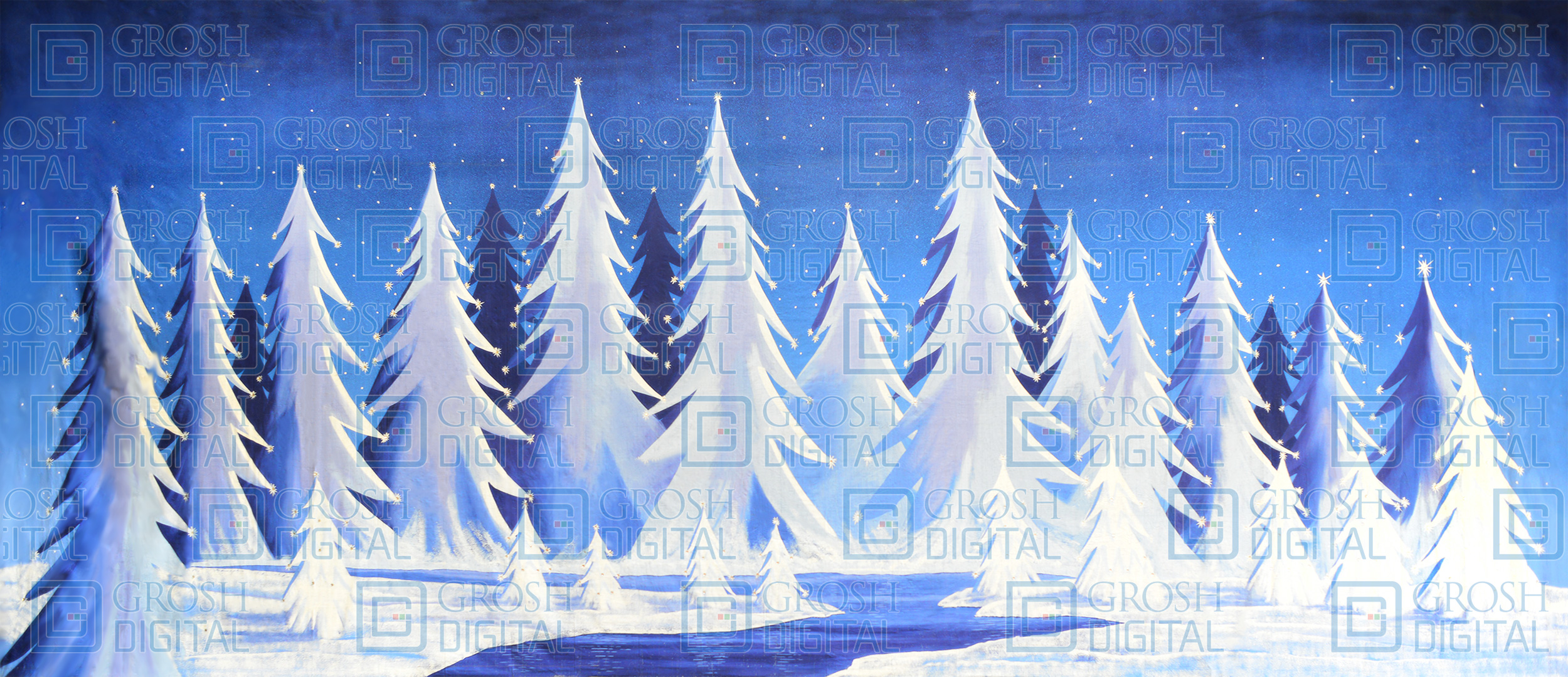 Stylized Snow Landscape Projected Backdrop for Forest, Frozen, Landscapes, Nutcracker, Snows