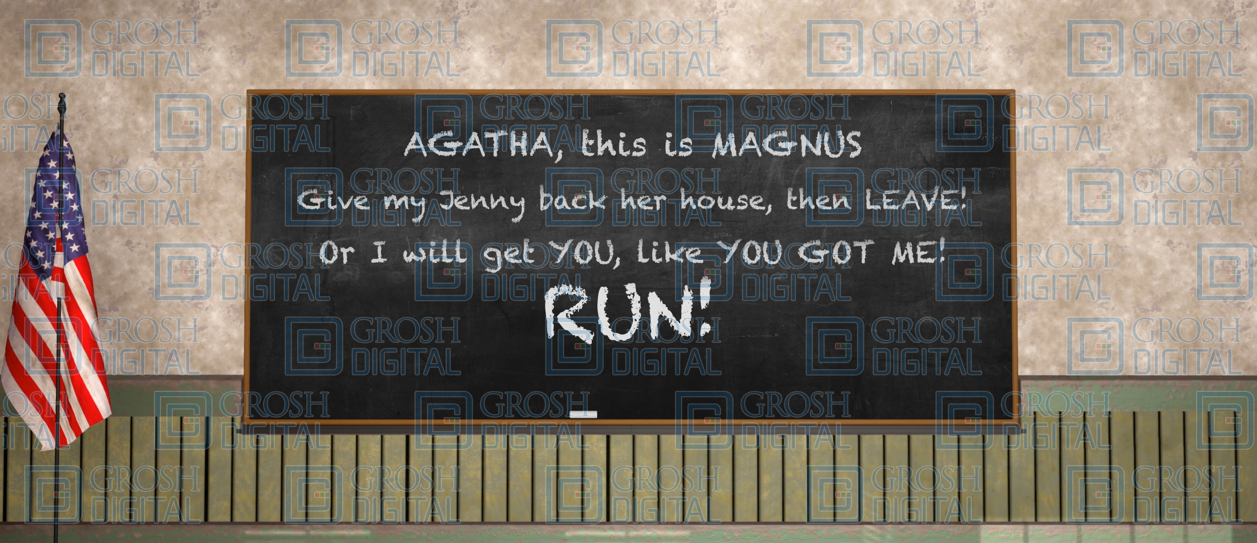 Chalk Board Projected Backdrop for Matilda