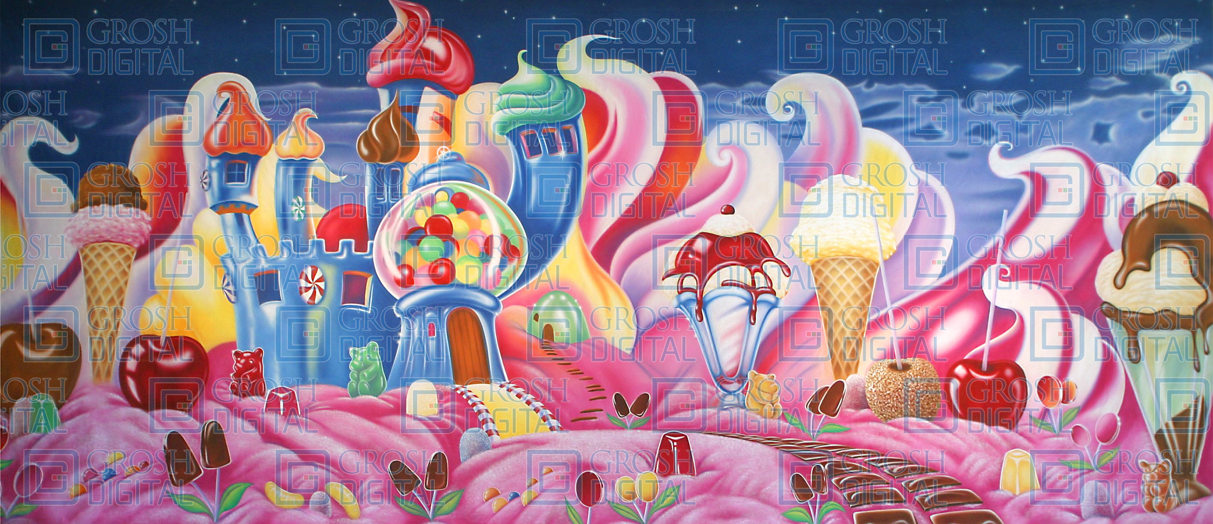 Candyland Projected Backdrop for Charlie and the Chocolate Factory, Land of the Sweets, Nutcracker