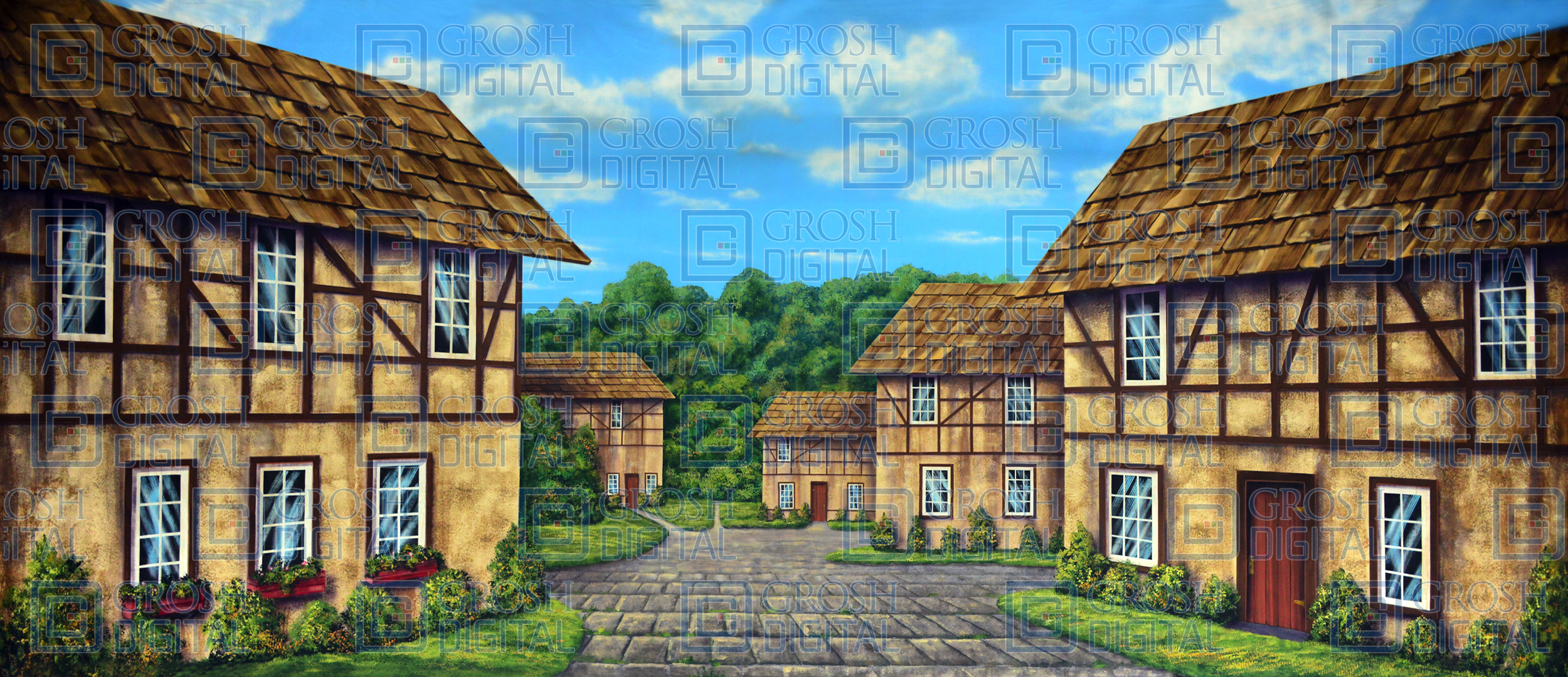 European Village Projected Backdrop for Beauty and the Beast, Exteriors, Giselle, Mary Poppins, Streets, Villages