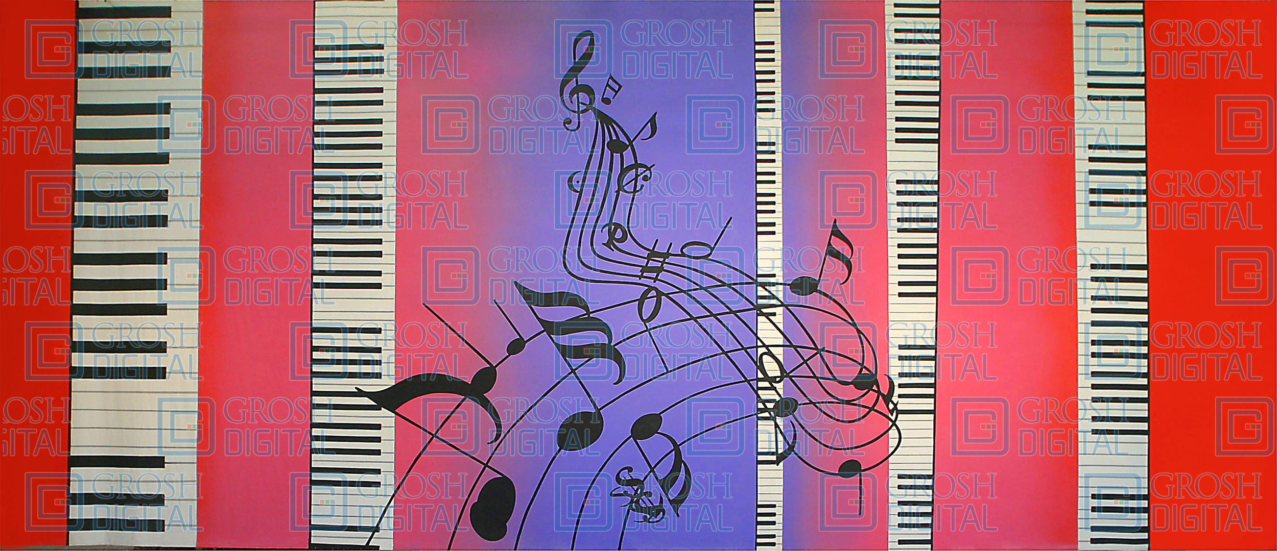 Piano keys with musical notes projected backdrops grosh digital piano keys with musical notes projected backdrop for abstract dance guys and dolls malvernweather Image collections