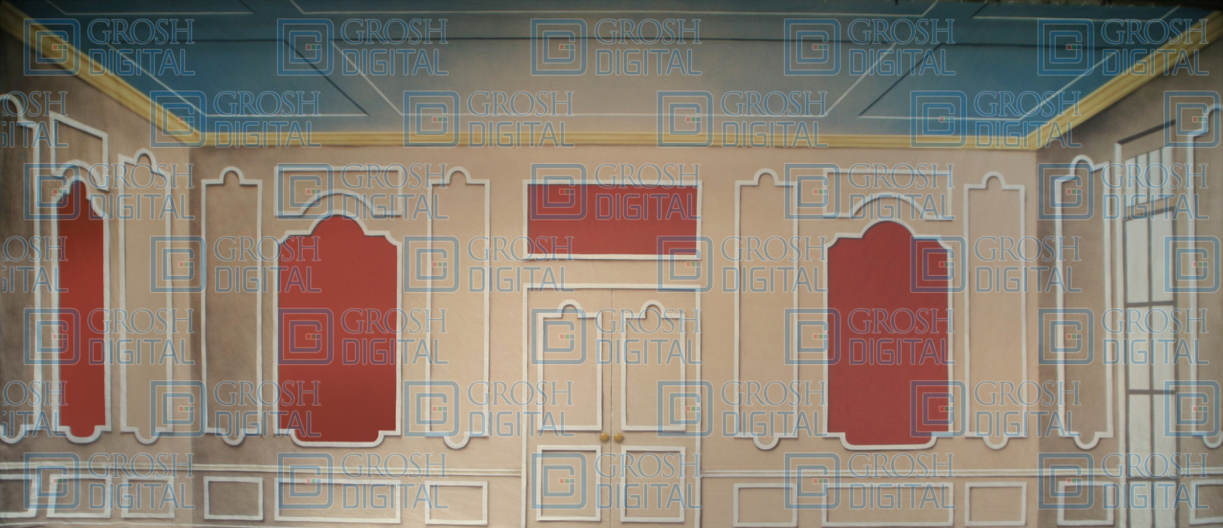 Paneled Room Projected Backdrop for Annie, Cinderella, Coppelia, Hairspray, Interiors, Music Man, Nutcracker, Sound of Music