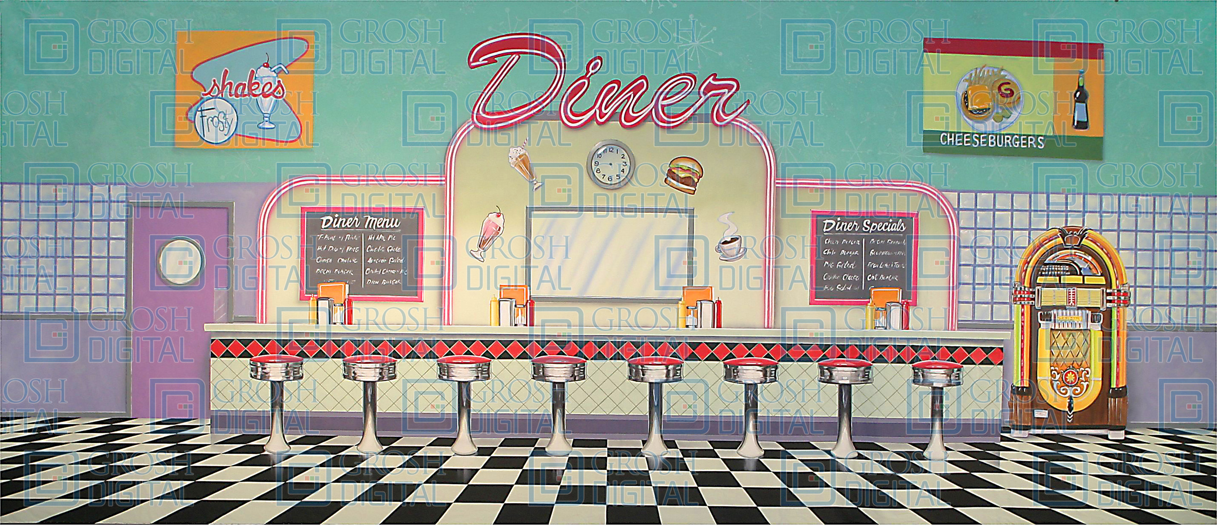 50 S Interior Diner Projected Backdrops Grosh Digital