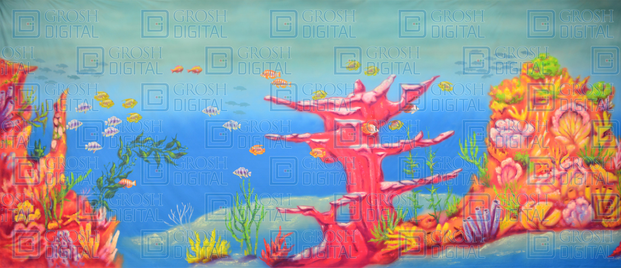 Undersea Coral Projected Backdrop for Beach/Tropical, Little Mermaid, Undersea