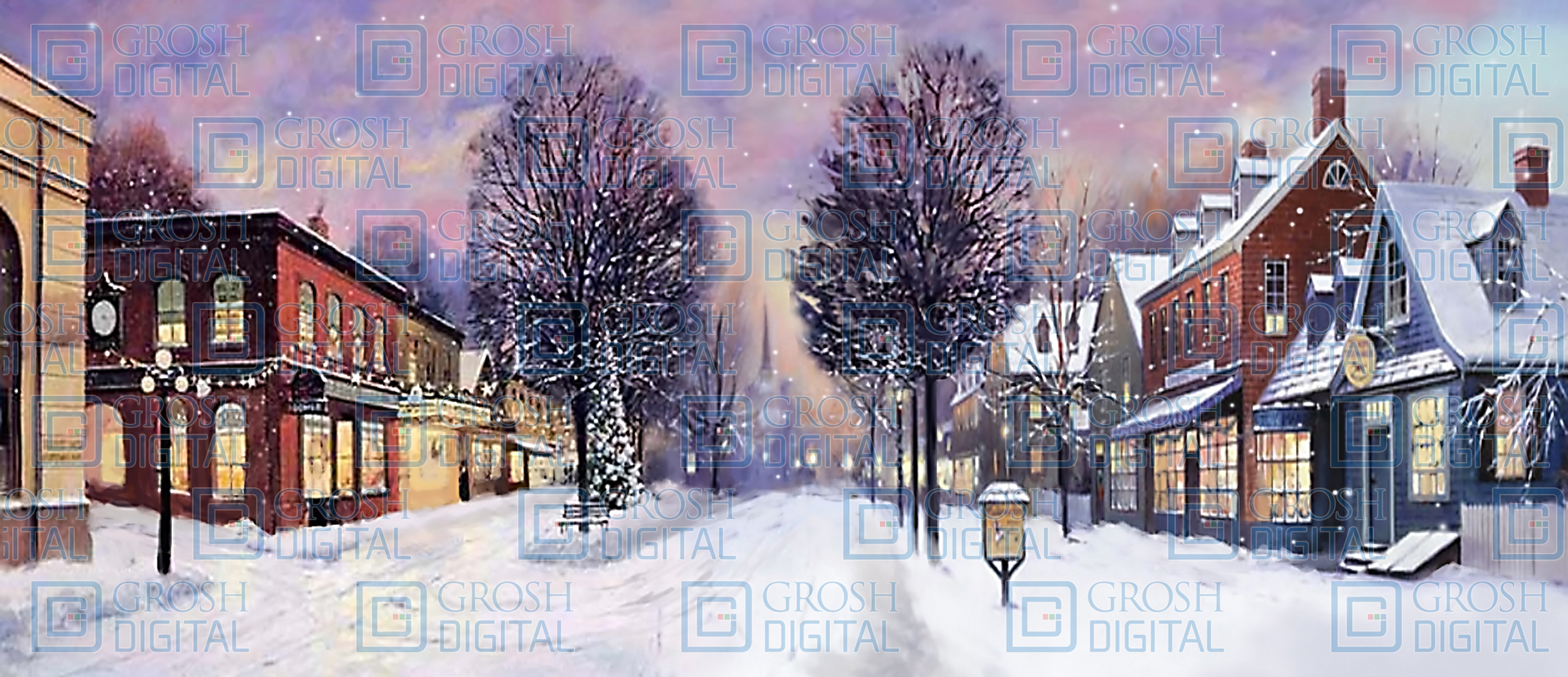 Winter Small Town Projected Backdrop for Holiday, Snows, Streets, Towns, Villages