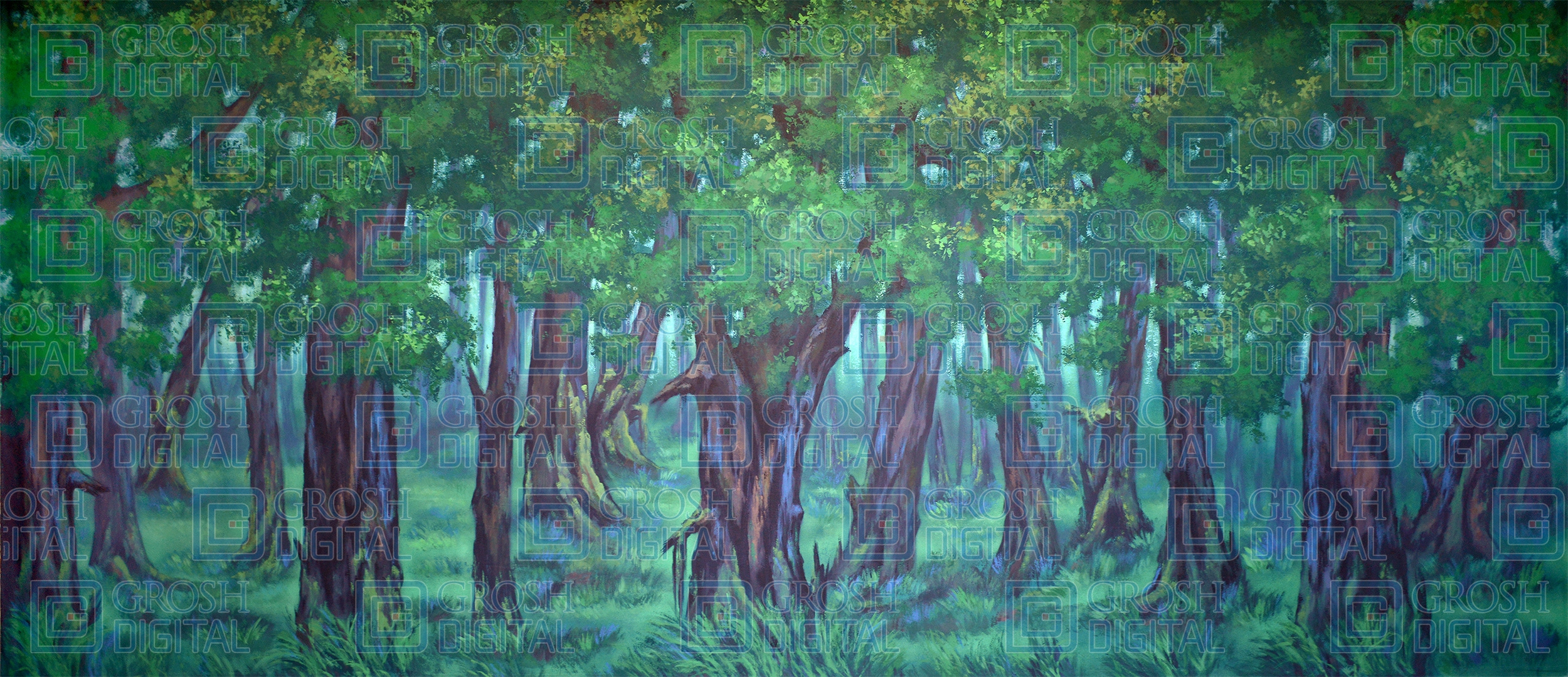 Dark Green Forest Projected Backdrop for Addams Family, Alice in Wonderland, Beauty and the Beast, Brigadoon, Cinderella, Forest, Giselle, Into the Woods, Lion King, Madagascar, Peter Pan, Shrek, Sleeping Beauty, Wizard of Oz