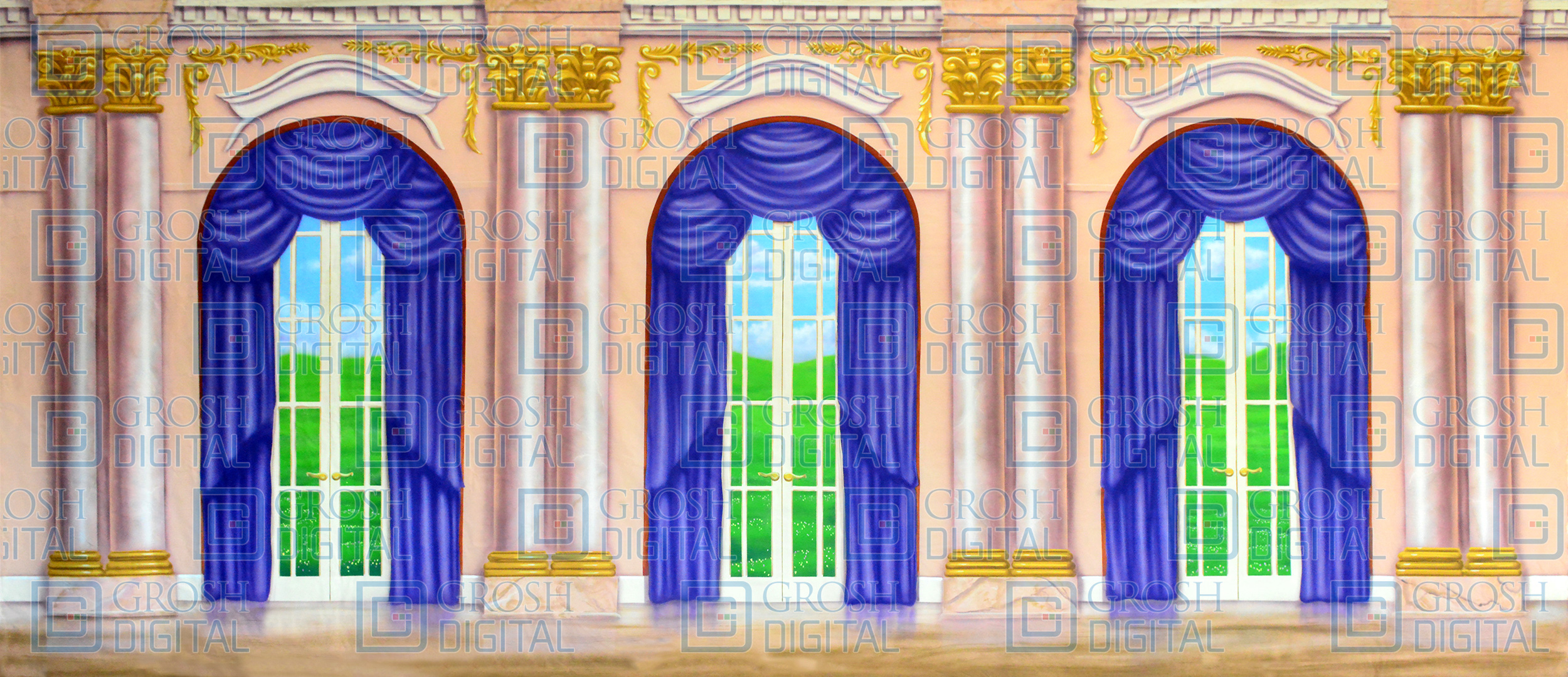 Attirant Ornate Palace Interior Projected Backdrop For A Christmas Carol, Annie,  Beauty And The Beast