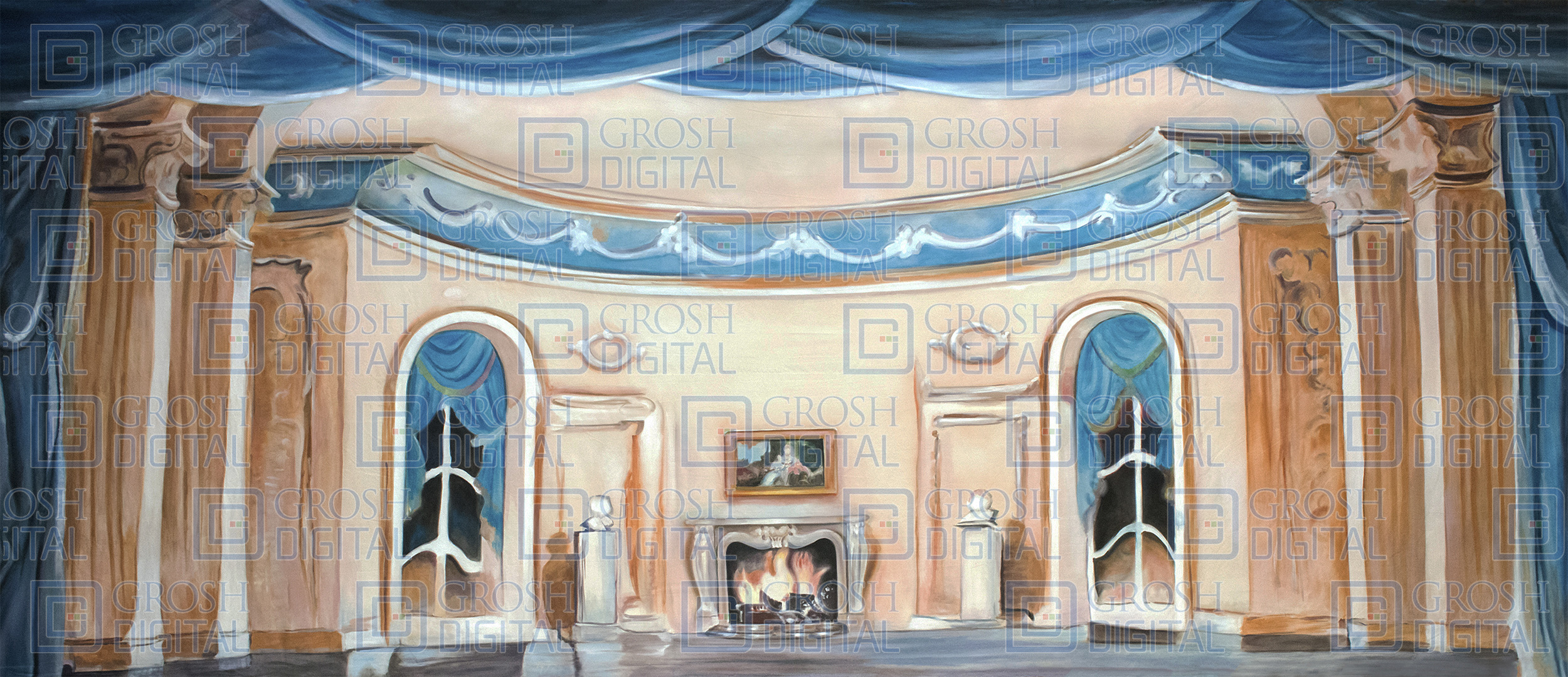 Parlor Interior Projected Backdrop for Annie, Beauty and the Beast, Cinderella, Coppelia, Dance, Frozen, Interiors, Little Mermaid, My Fair Lady, Nutcracker, Palace/Parlors, Sleeping Beauty