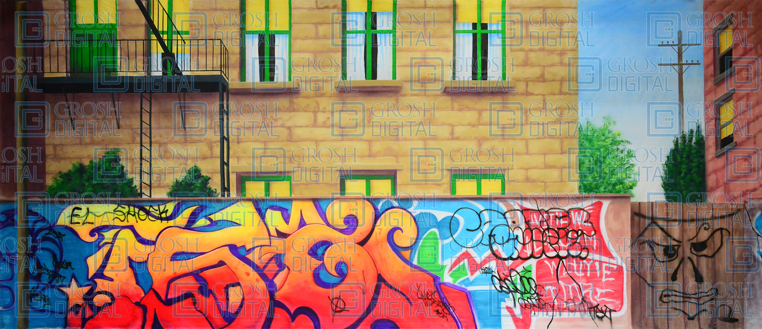 Alley with Graffiti Wall Projected Backdrops - Grosh Digital