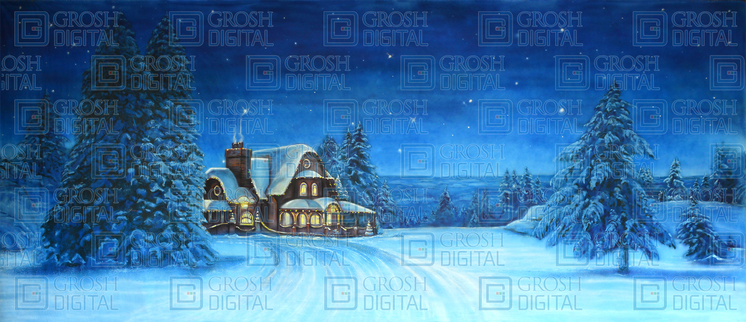 North Pole Projected Backdrop for Elf the Musical, Holiday, Snows, Villages