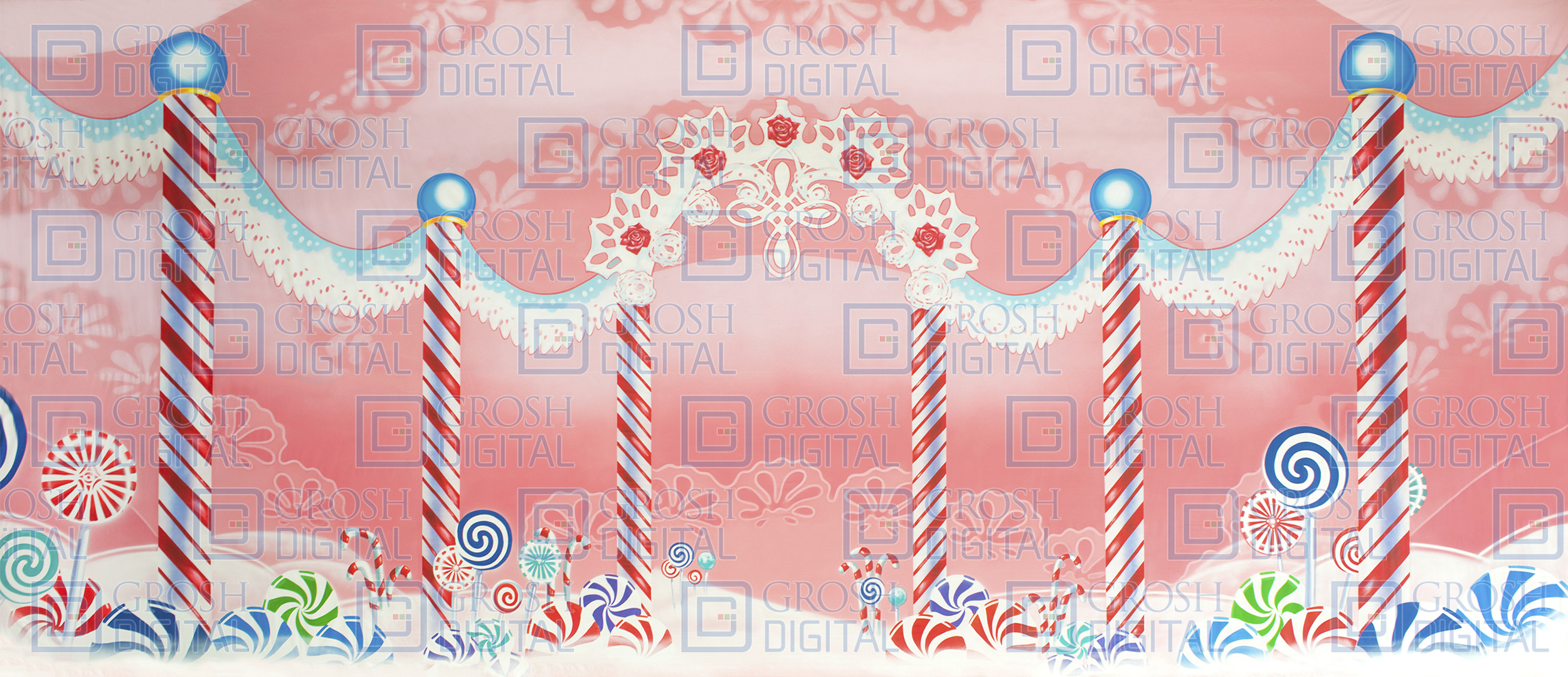 Lace Candyland Projected Backdrop for Dance, Land of the Sweets, Nutcracker