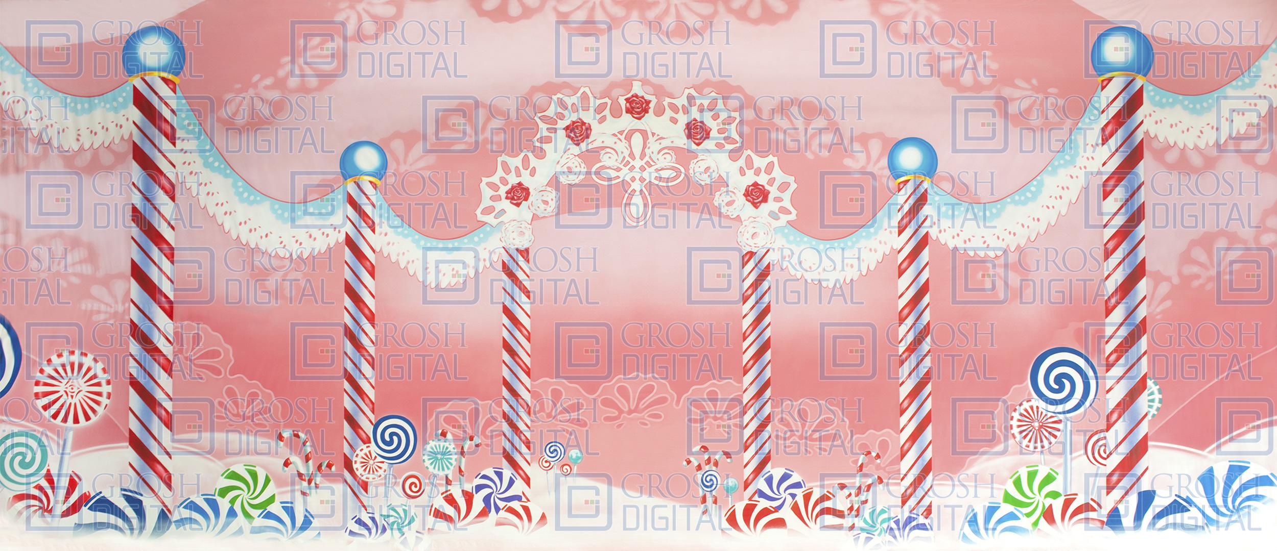 Christmas Candyland Backdrop.Lace Candyland