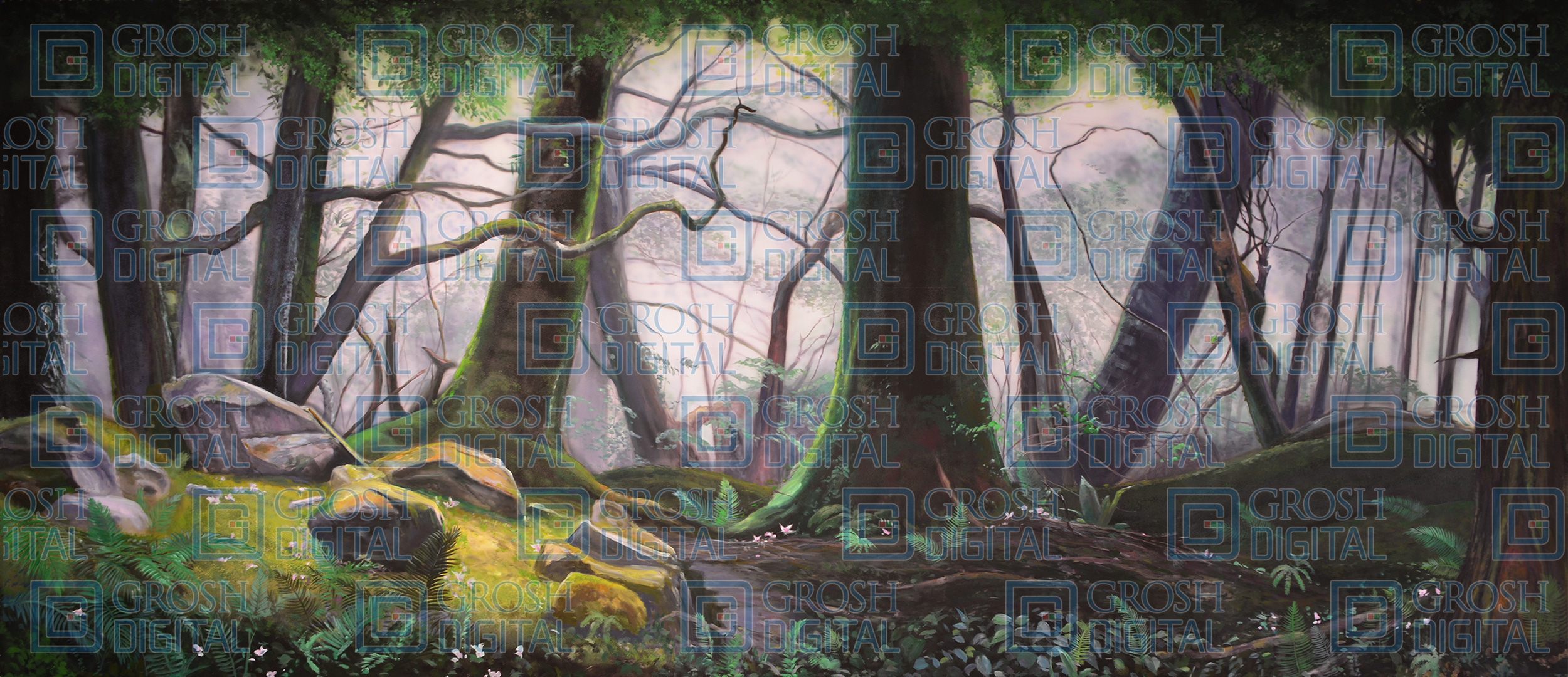 Forest Panel 2 Projected Backdrop for Addams Family, Alice in Wonderland, Beauty and the Beast, Big Fish, Brigadoon, Cinderella, Forest, Into the Woods, Lion King, Madagascar, Peter Pan, Shrek, Sleeping Beauty, Wizard of Oz